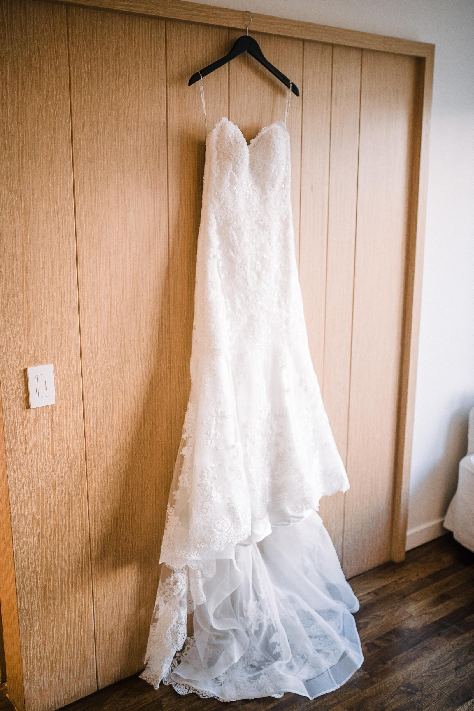 Detail shot of Wedding Dress at The Park Hyatt Hotel in Washington DC
