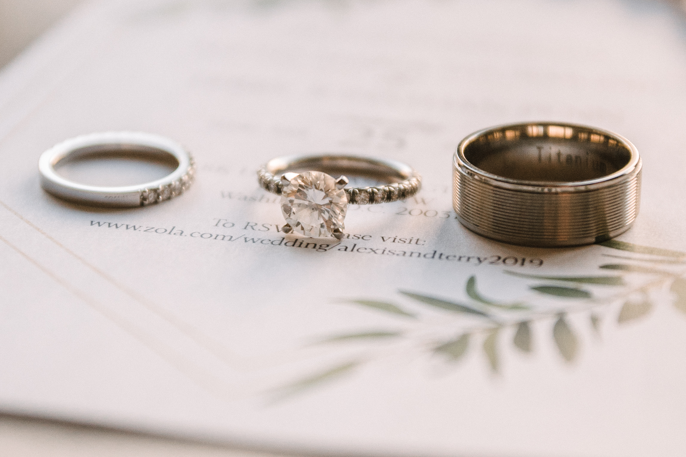 Detail shot of Wedding Rings at The Park Hyatt Hotel in Washington DC