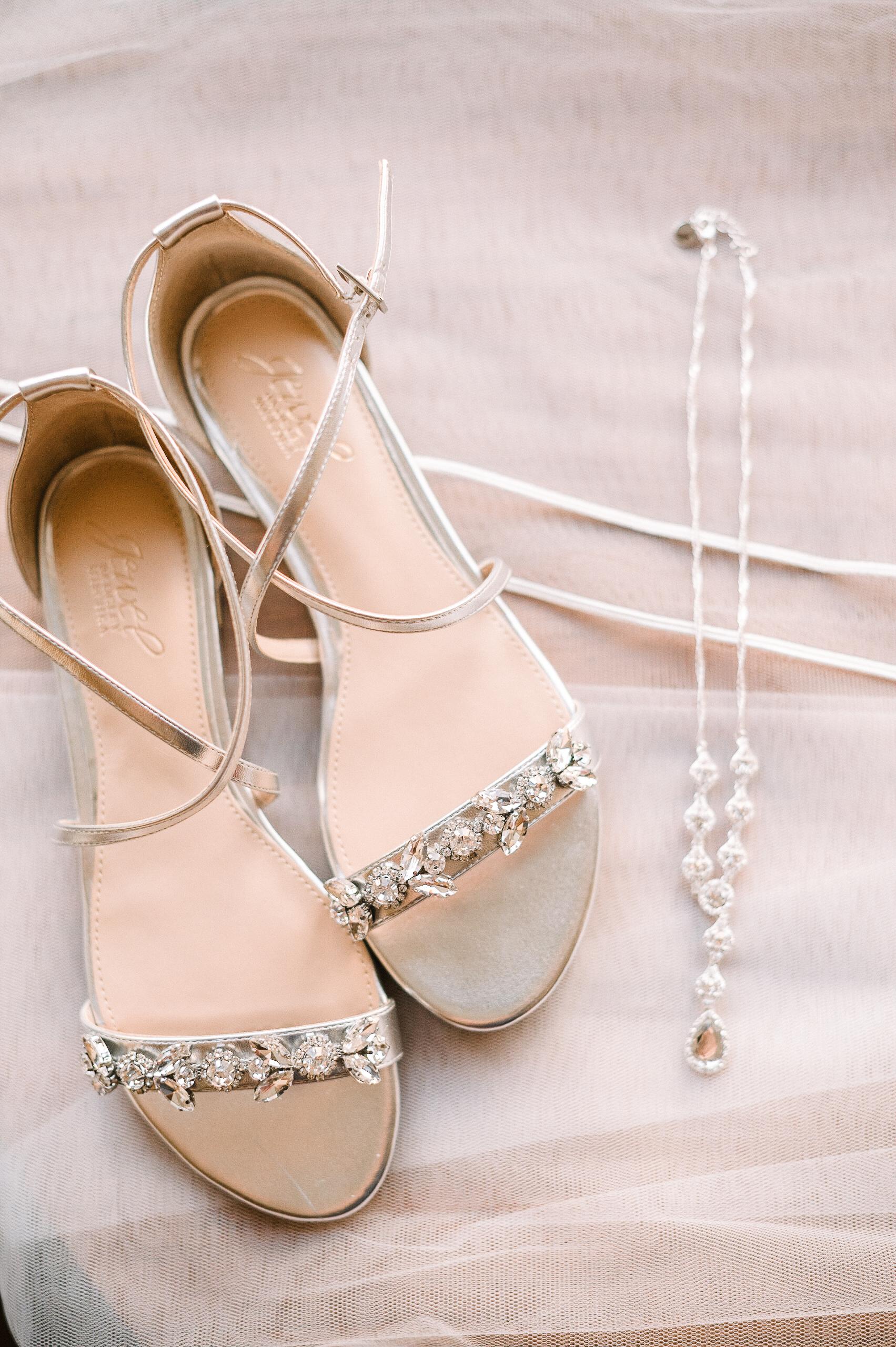 Detail shot of Bride's Wedding Shoes at The Park Hyatt Hotel in Washington DC