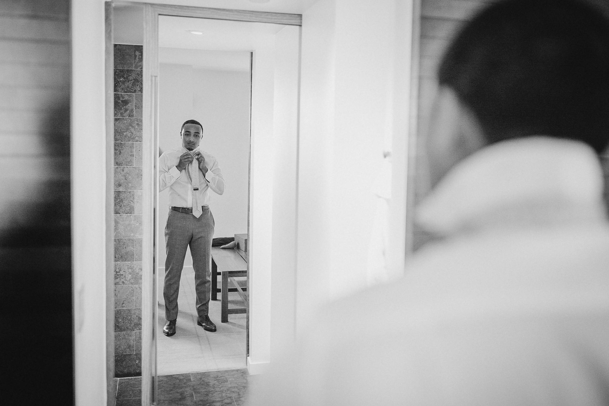 groom getting ready at The Park Hyatt Hotel in Washington DC