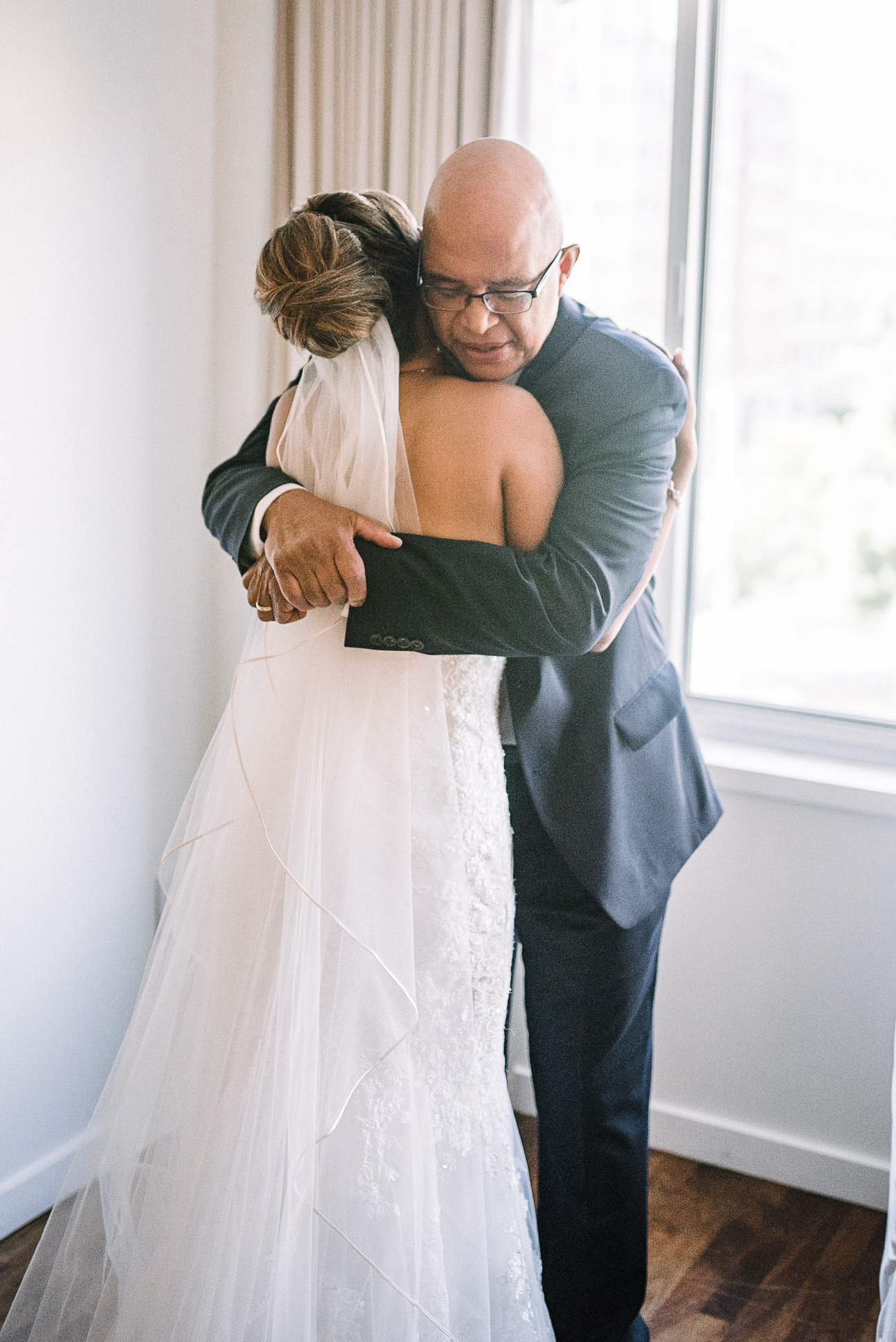 bride doing a first look with dad at The Park Hyatt Hotel in Washington DC