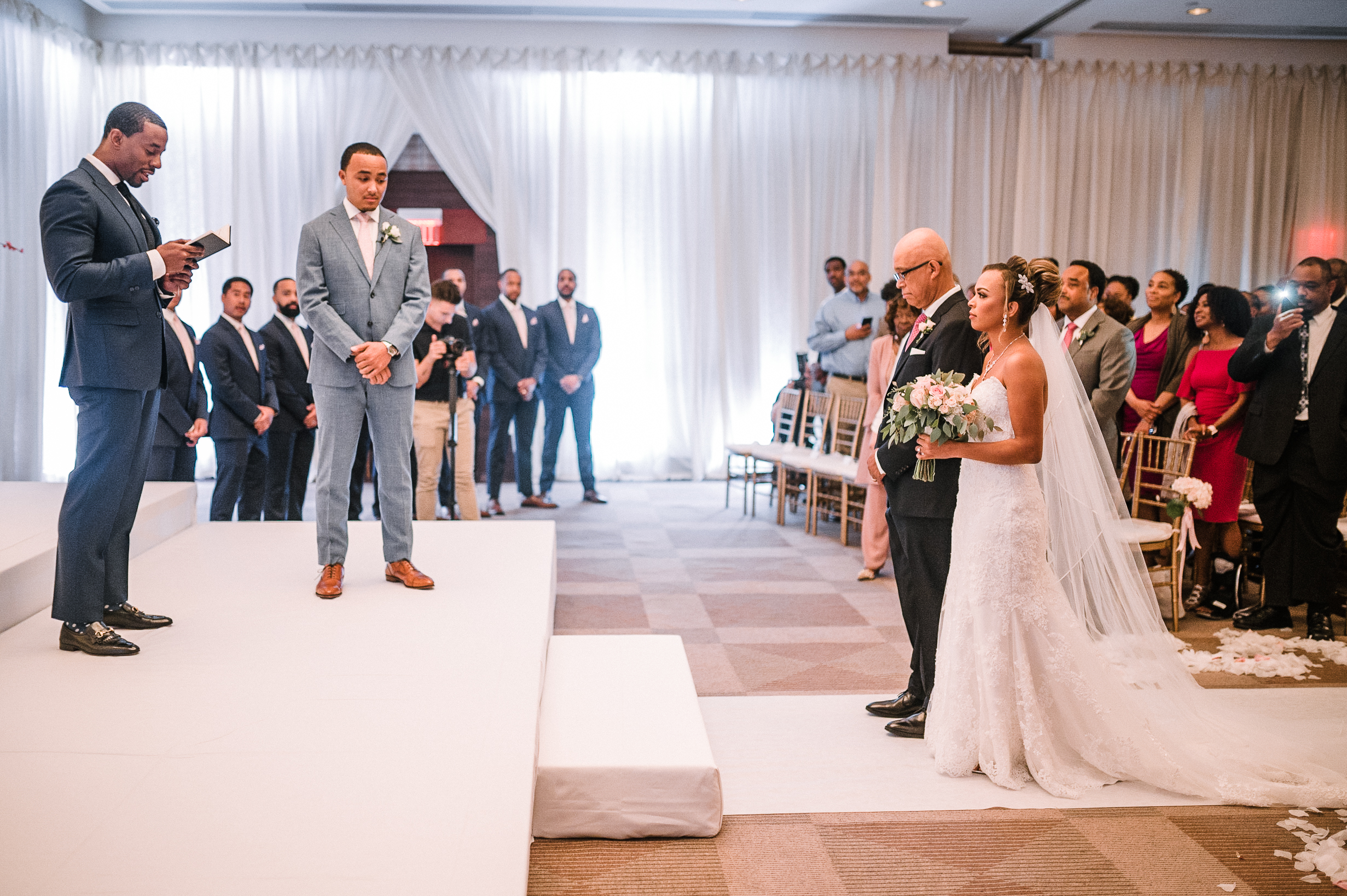 father of the bride giving bride away at The Park Hyatt Hotel in Washington DC