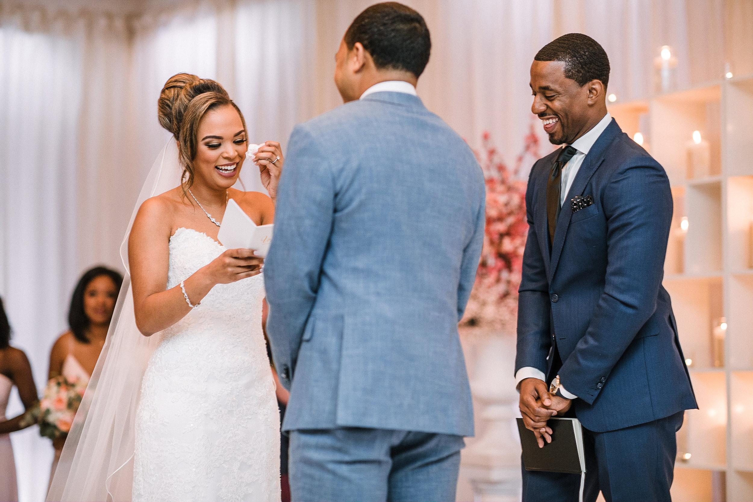 bride reading vows at The Park Hyatt Hotel in Washington DC