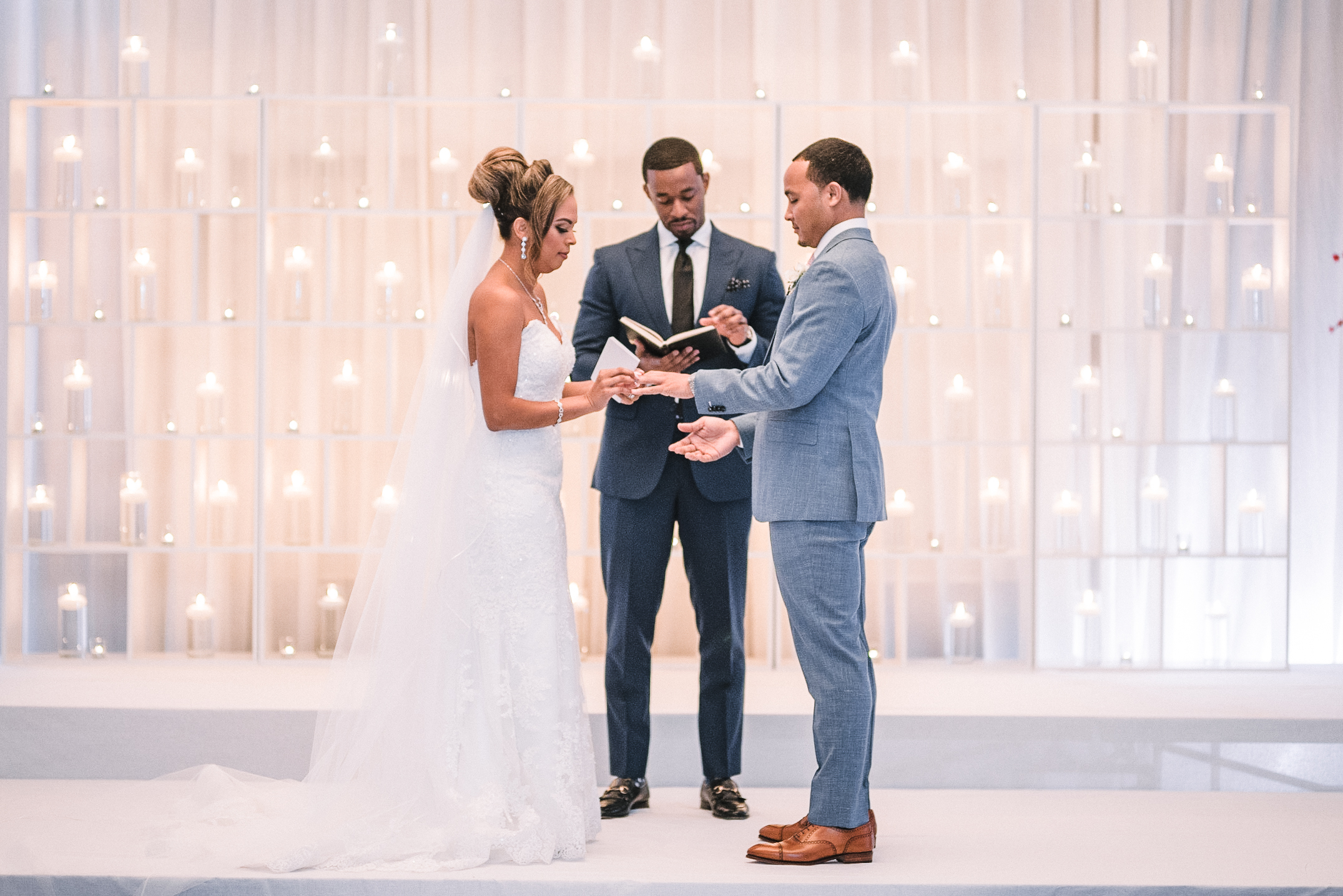 bride and groom exchanging rings at The Park Hyatt Hotel in Washington DC