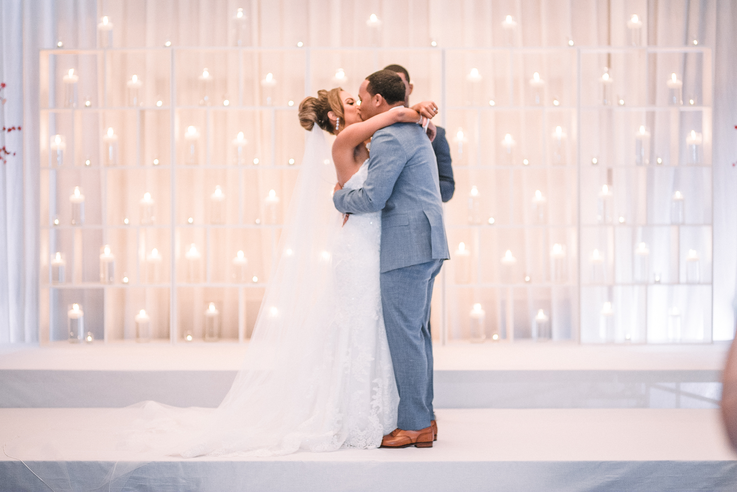 bride and groom kissing at the altar at The Park Hyatt Hotel in Washington DC