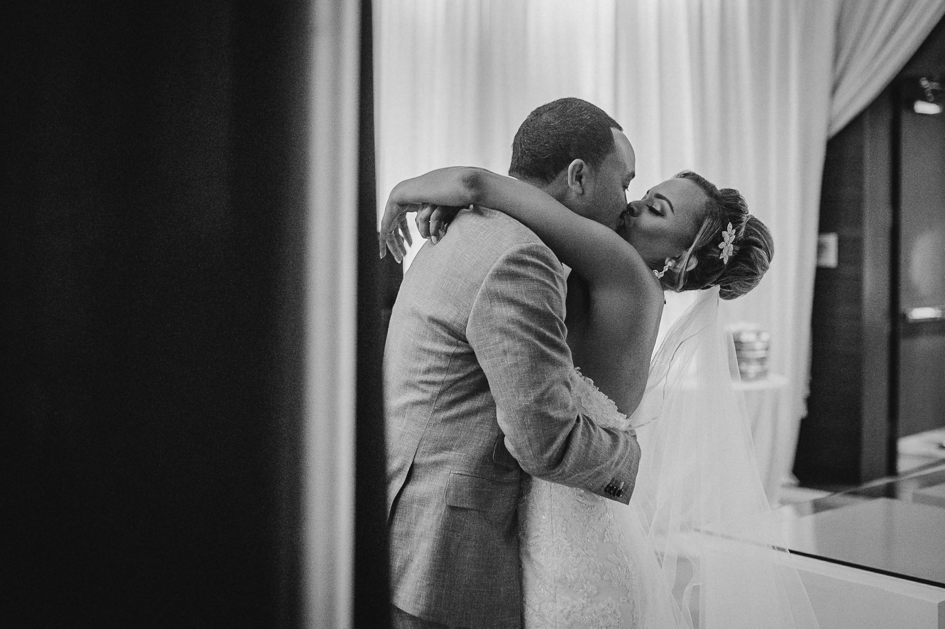 bride and groom kissing after getting married at The Park Hyatt Hotel in Washington DC