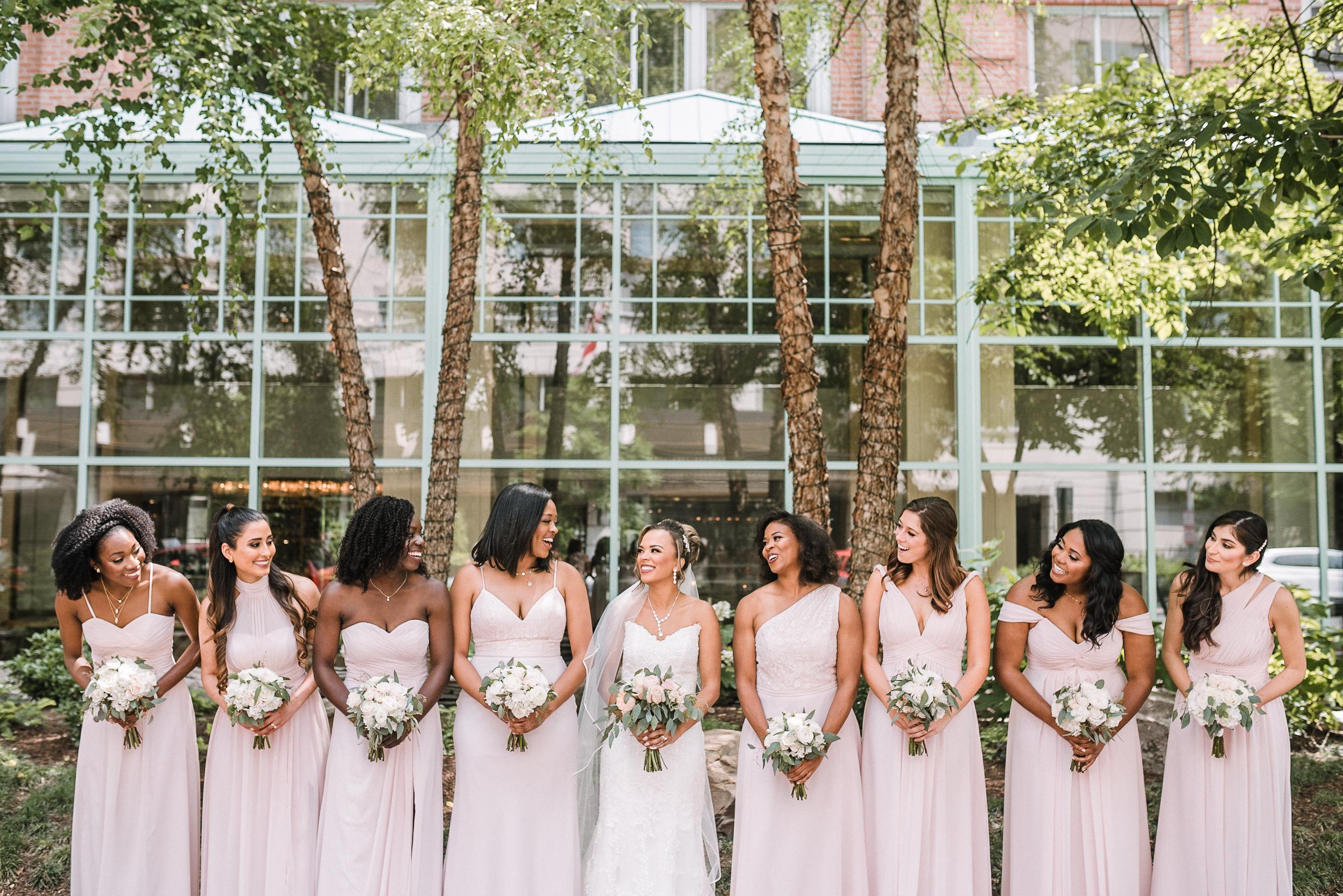 bride and bridesmaids smiling at The Park Hyatt Hotel in Washington DC
