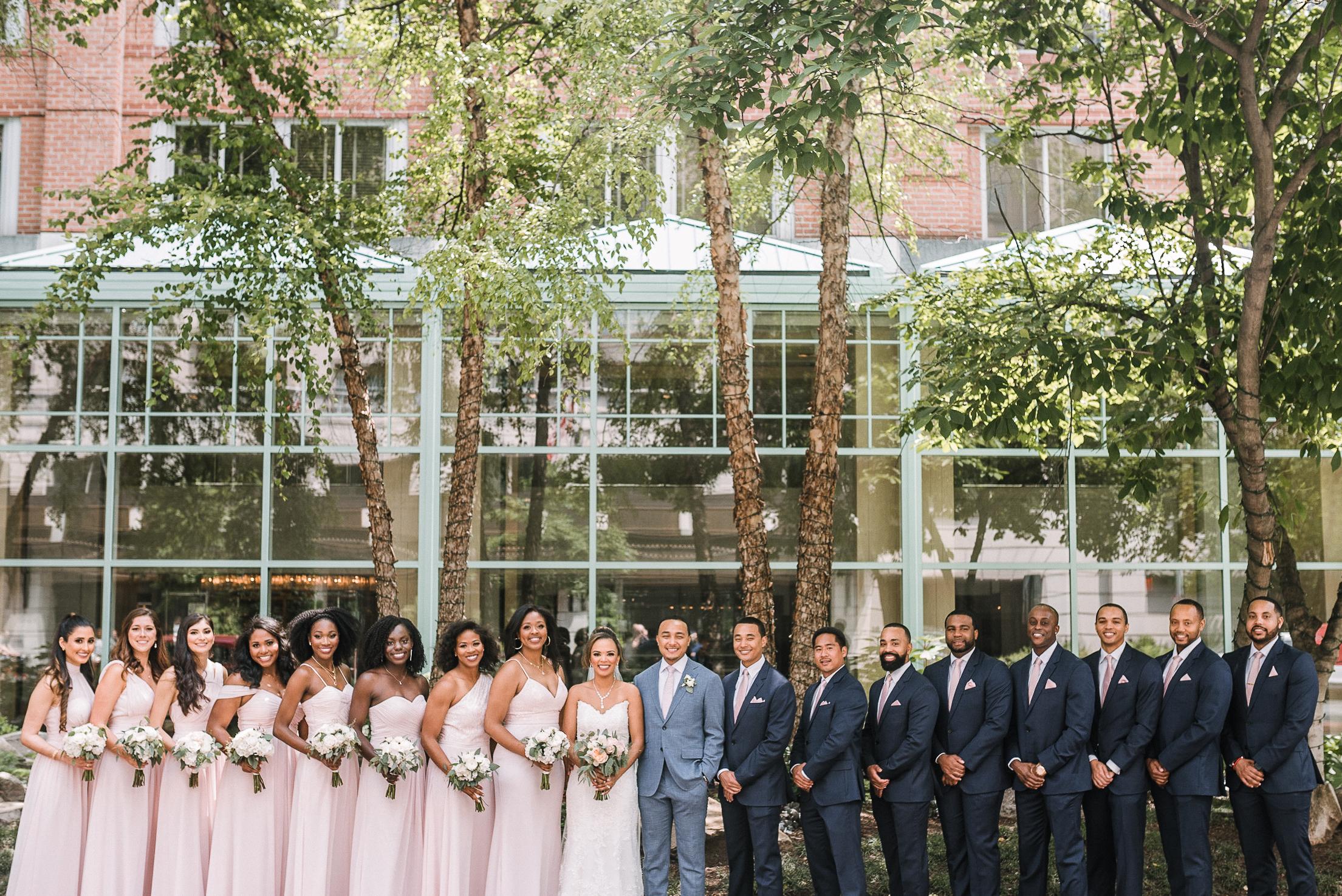 wedding party smiling at The Park Hyatt Hotel in Washington DC
