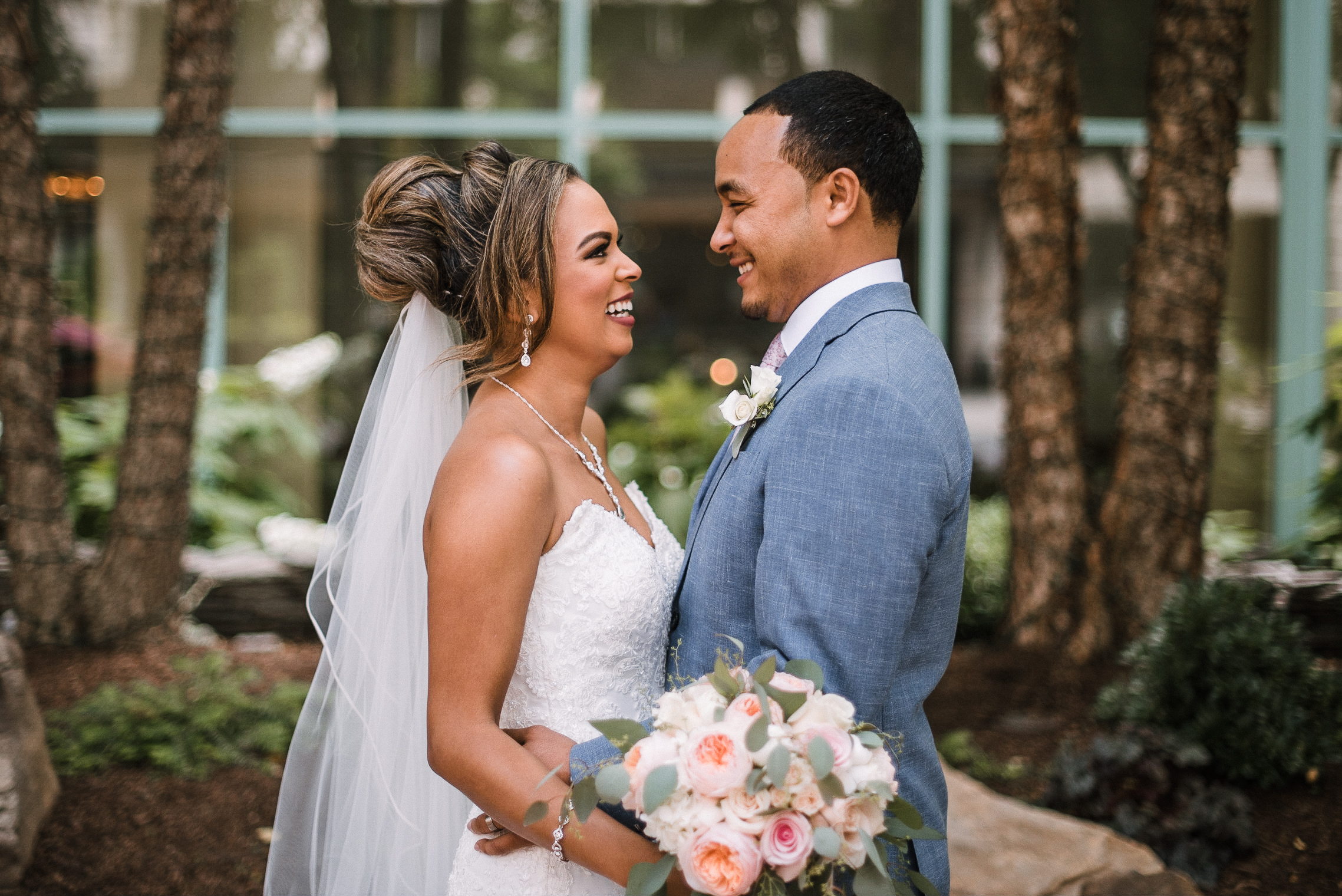 bride and groom smiling at each other at The Park Hyatt Hotel in Washington DC