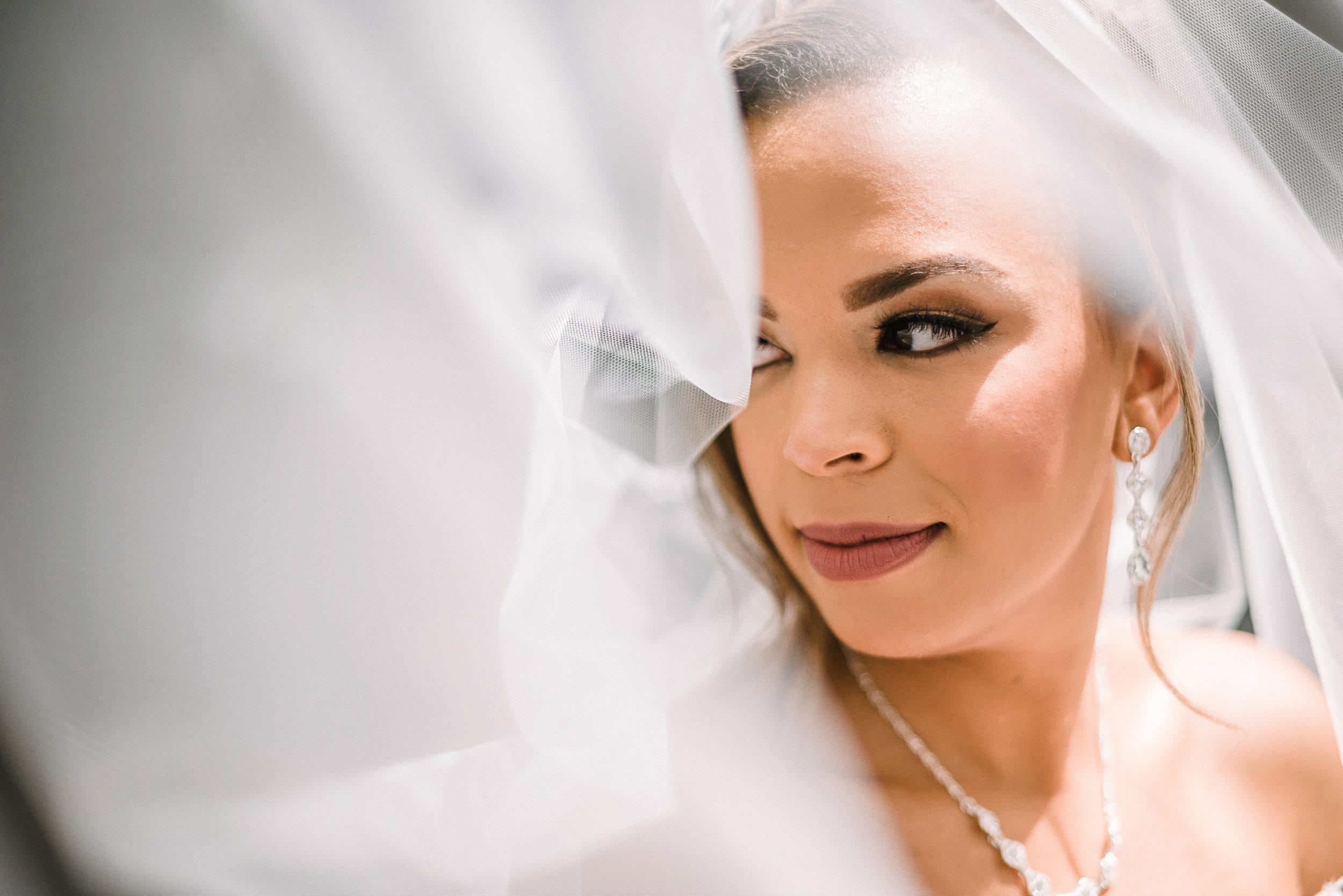 bridal portrait under veil at The Park Hyatt Hotel in Washington DC