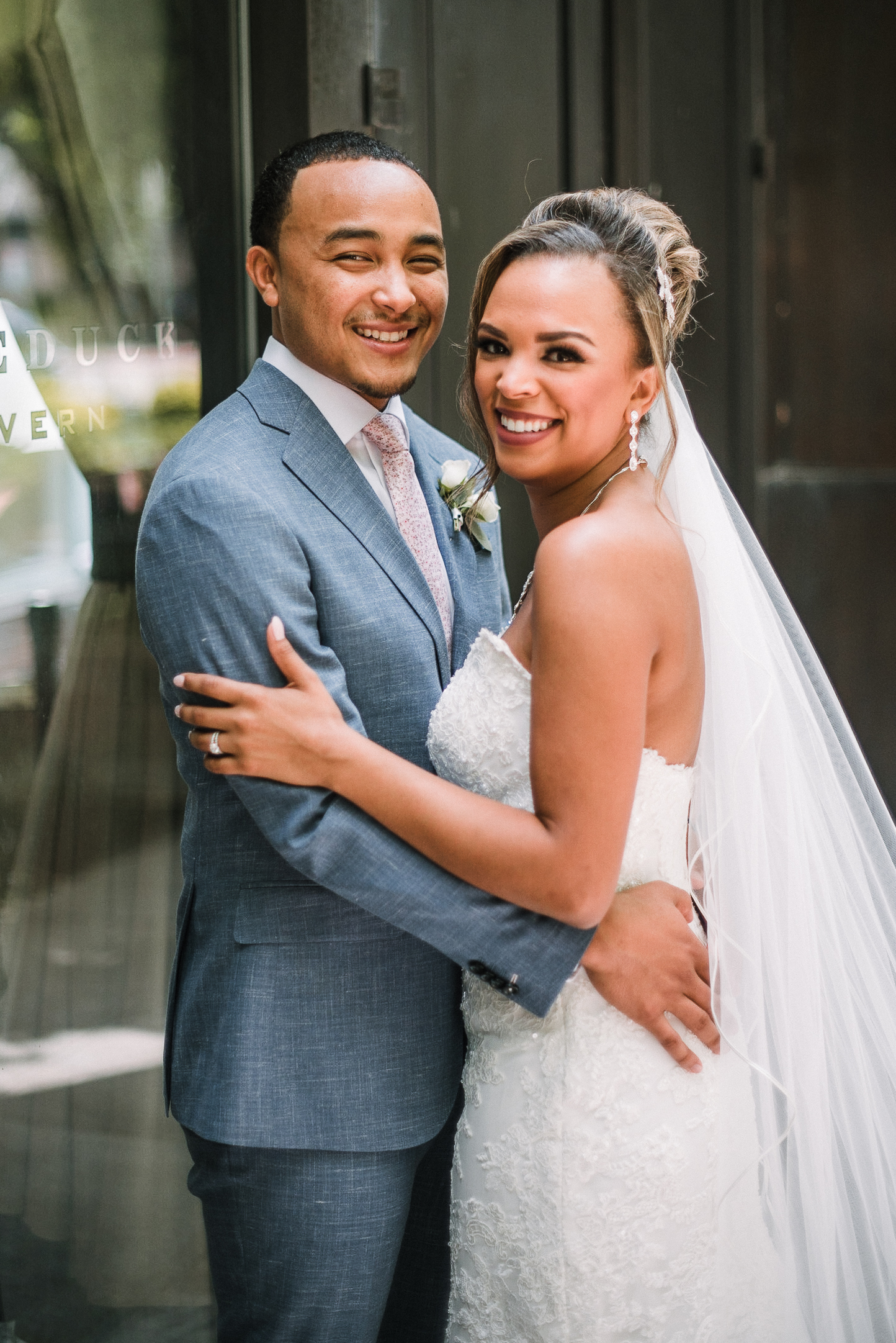 bride and groom smiling at The Park Hyatt Hotel in Washington DC
