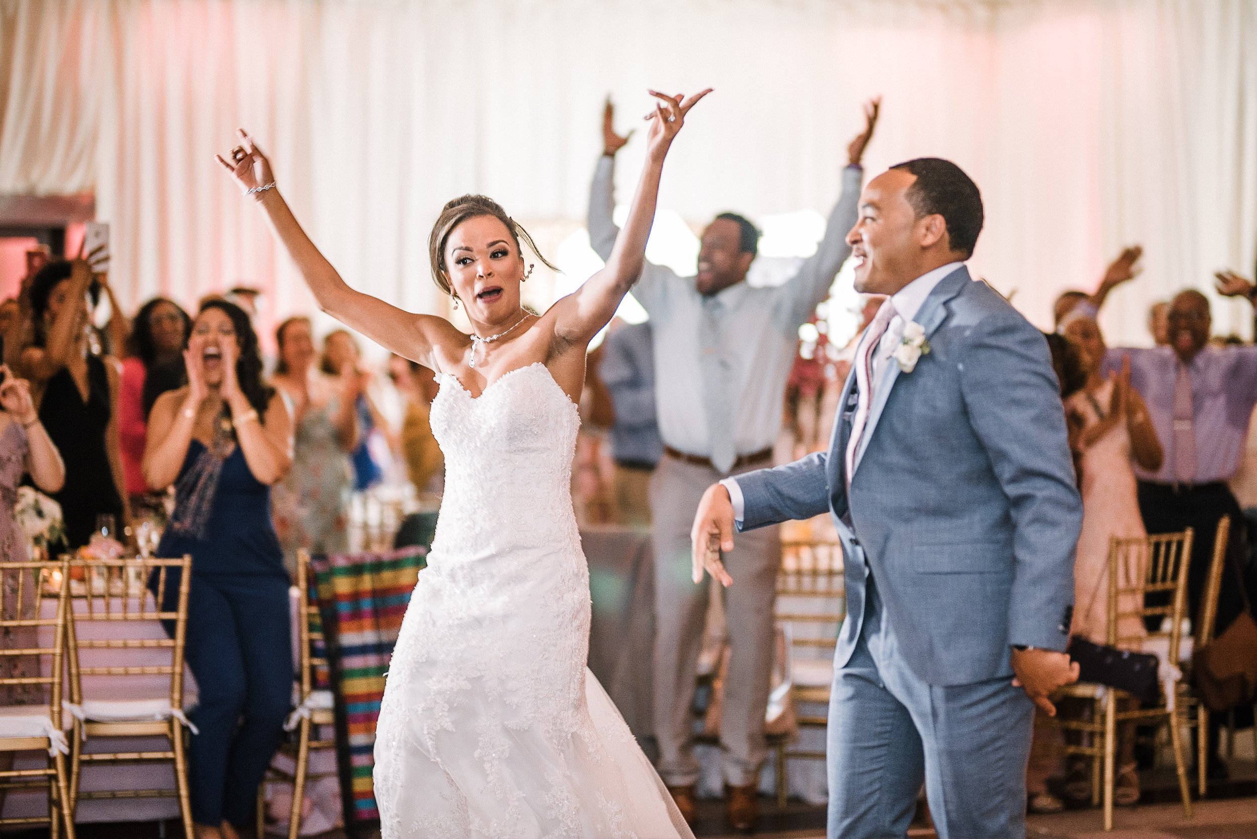 bride and groom entering reception at The Park Hyatt Hotel in Washington DC