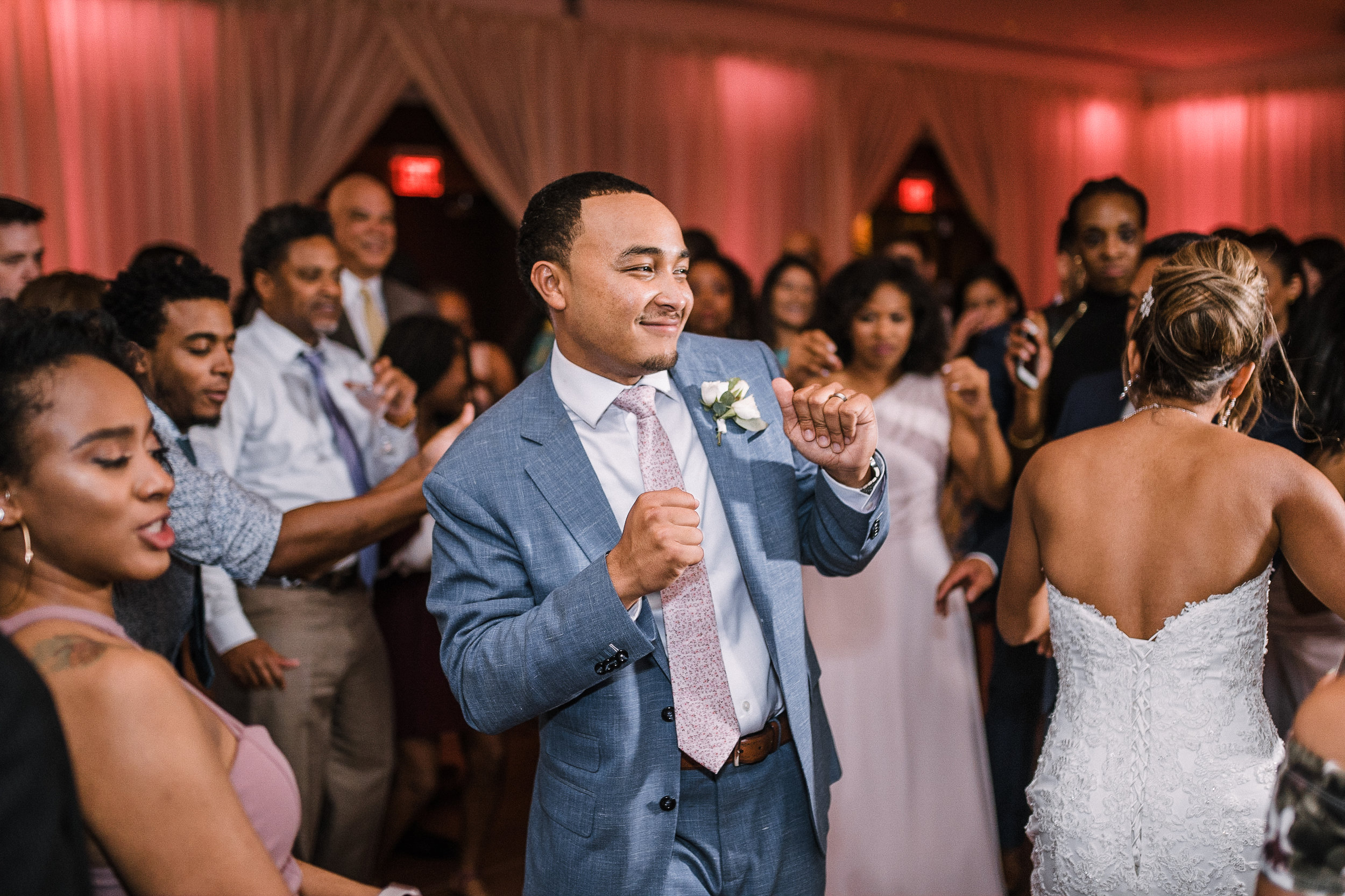 groom and guests dancing at The Park Hyatt Hotel in Washington DC
