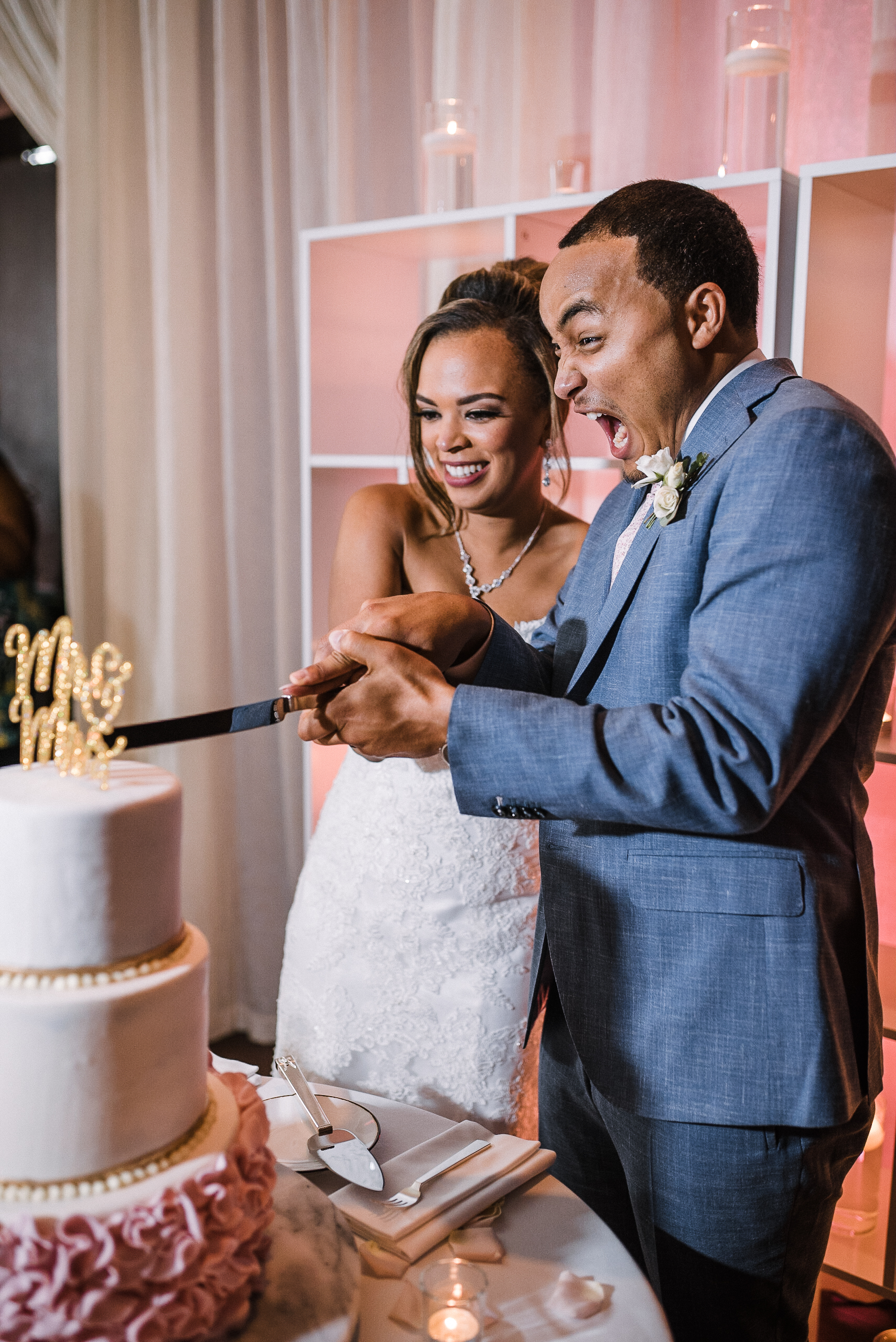 bride and groom cutting the cake at The Park Hyatt Hotel in Washington DC
