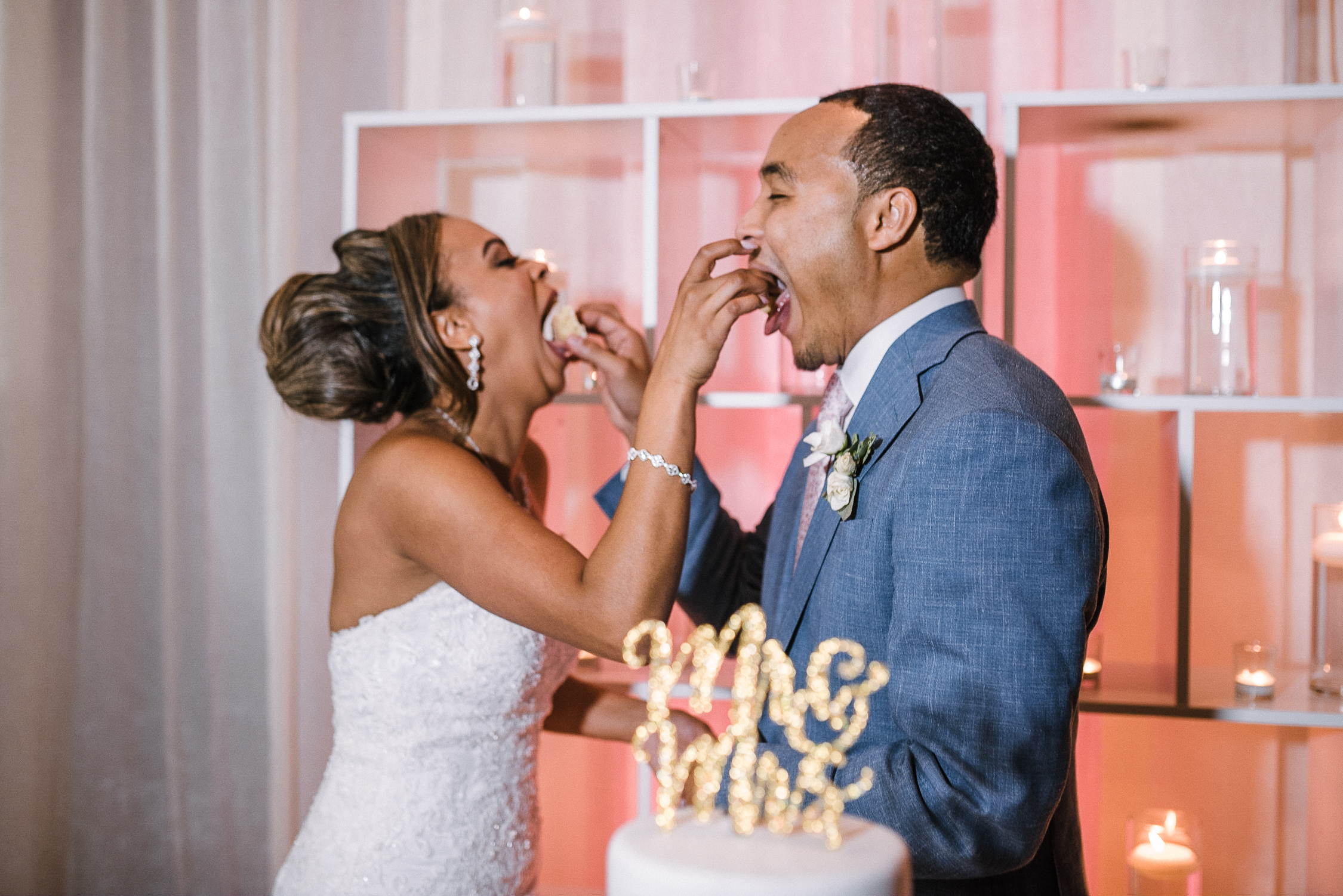 bride and groom eating the cake at The Park Hyatt Hotel in Washington DC