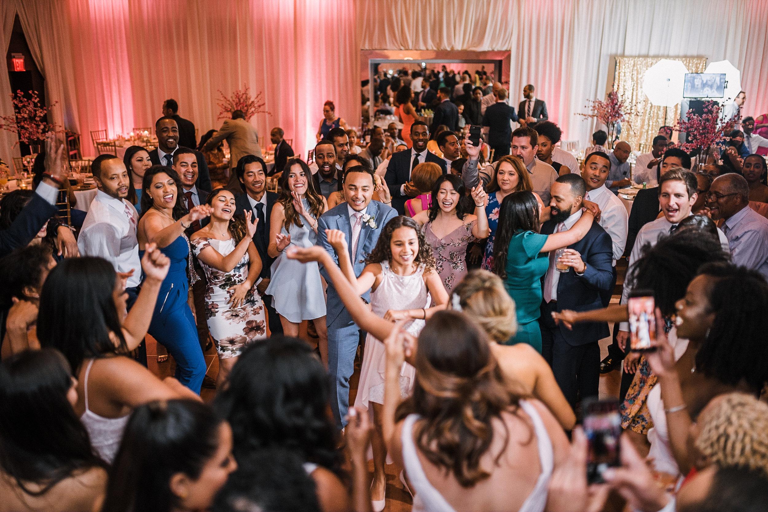guests dancing at reception at The Park Hyatt Hotel in Washington DC