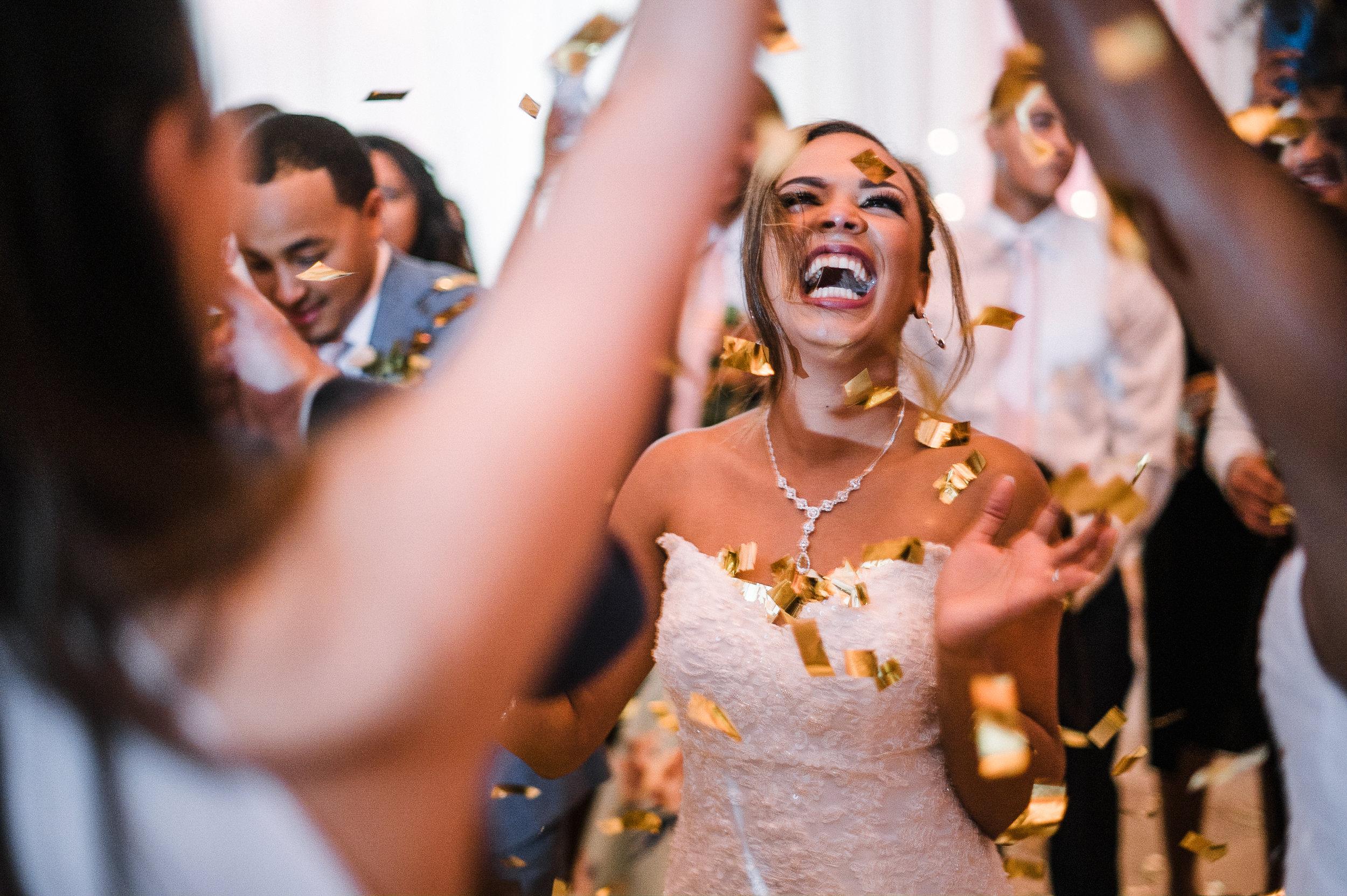 bride smiling through confetti at The Park Hyatt Hotel in Washington DC