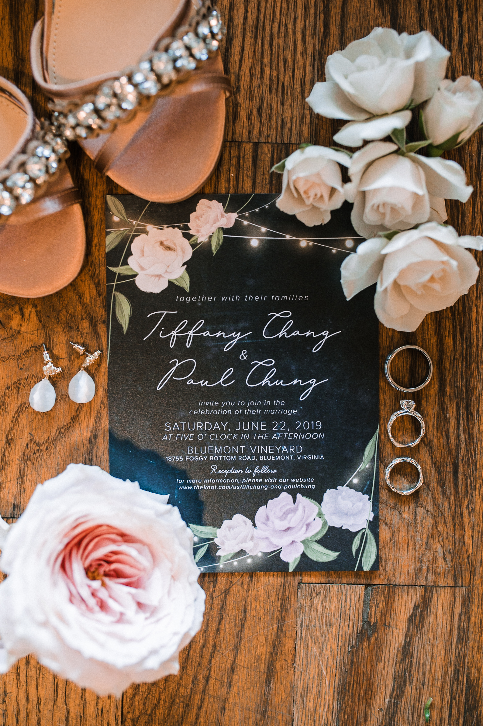 Detail shot of wedding stationery at Bluemont Vineyard