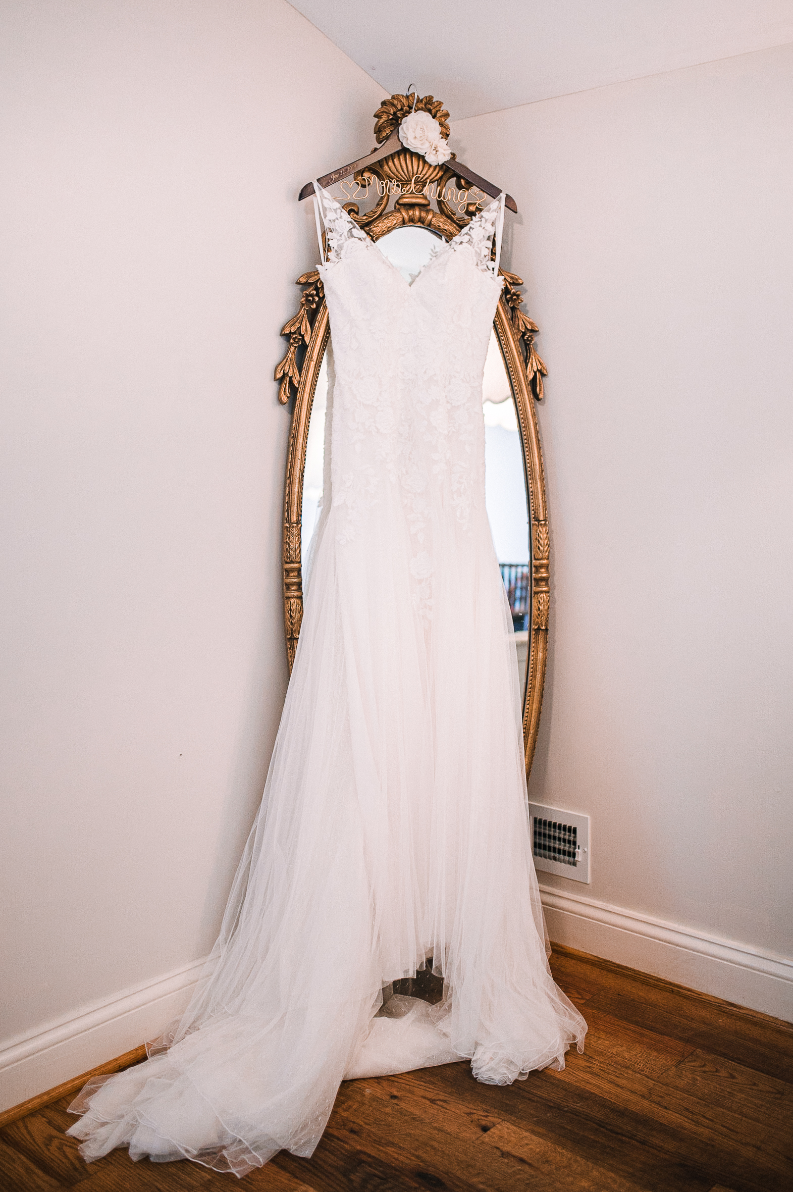 detail shot of wedding dress at Bluemont Vineyard