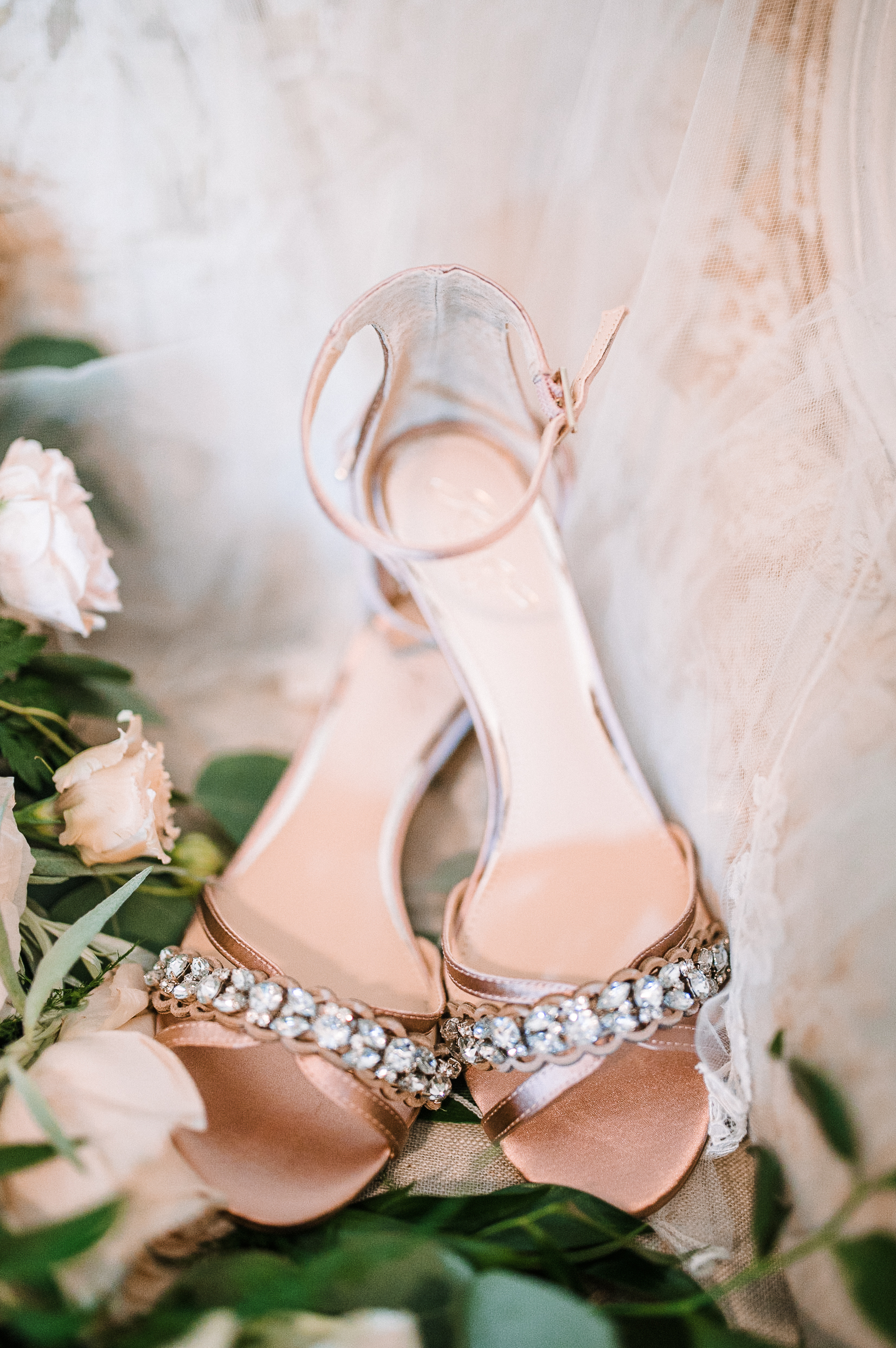 detail shot of wedding shoes at Bluemont Vineyard