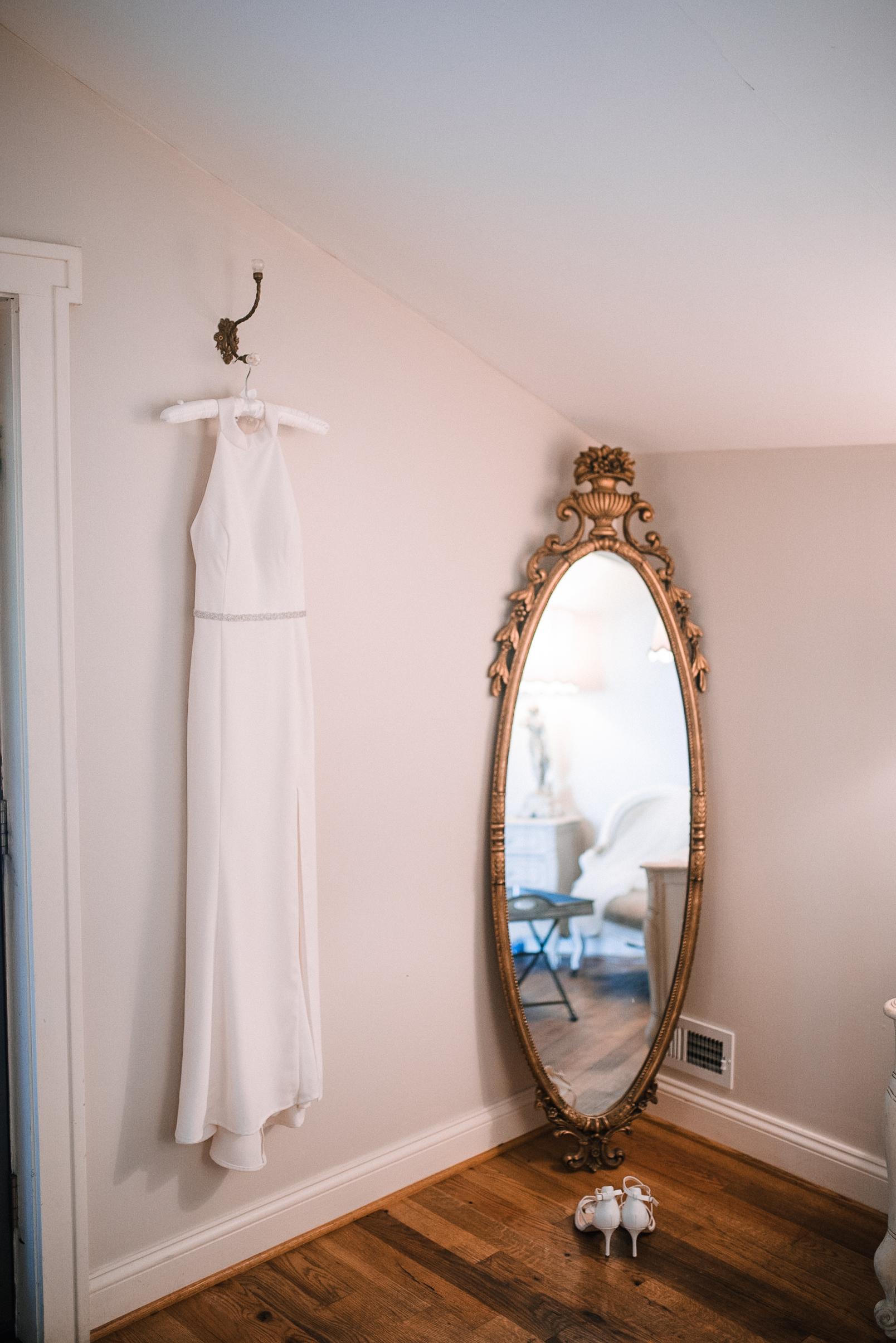 detail shot of wedding dress at Bluemont Vineyard
