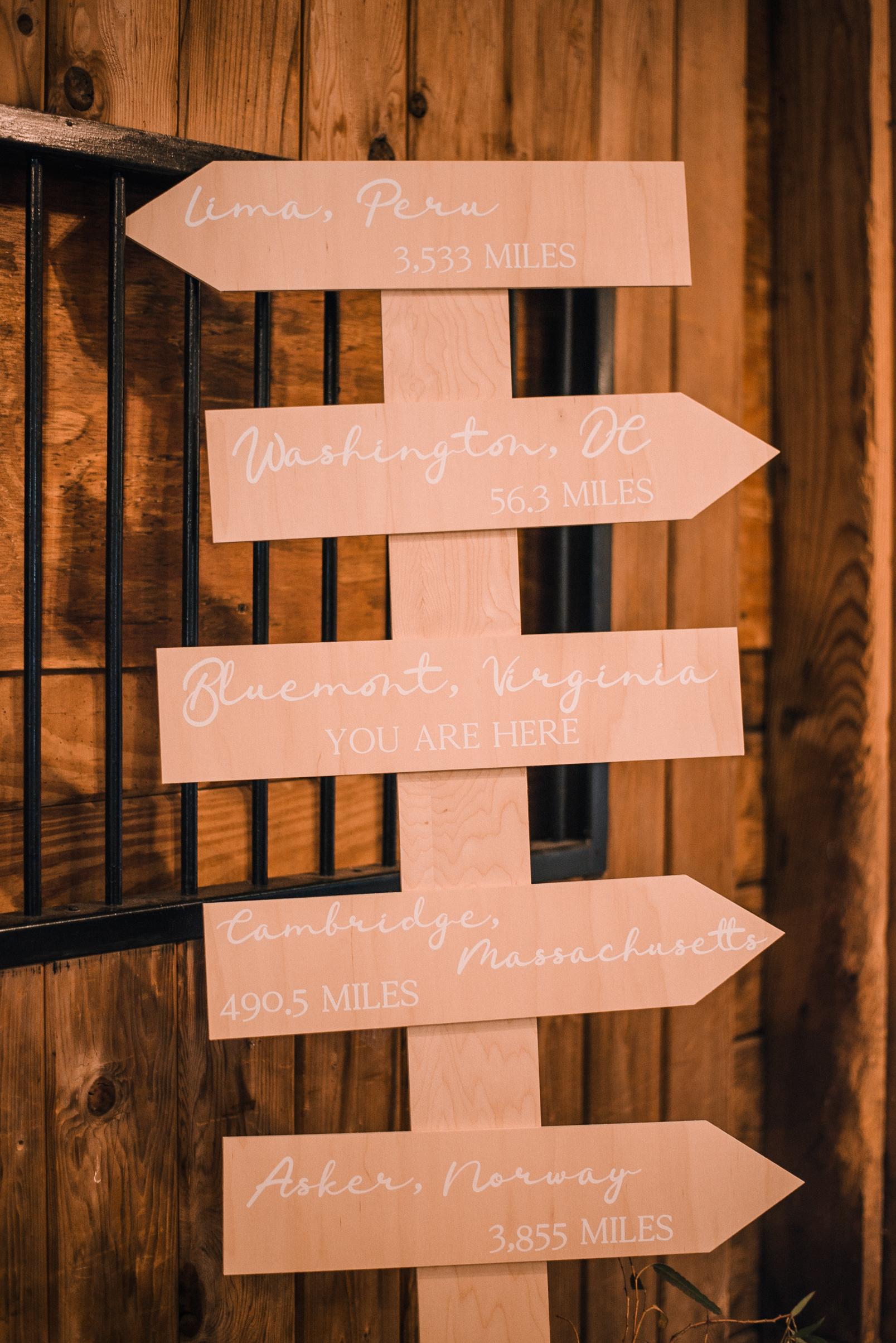 wedding sign at Bluemont Vineyard