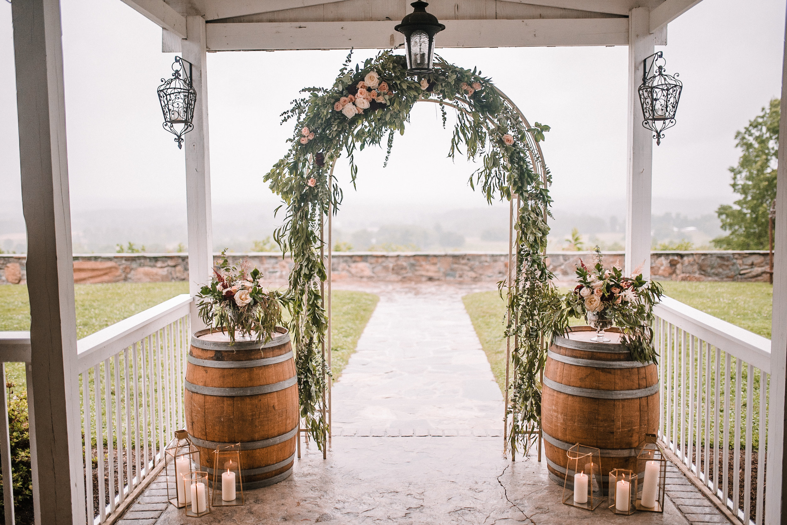 wedding arch detail at Bluemont Vineyard