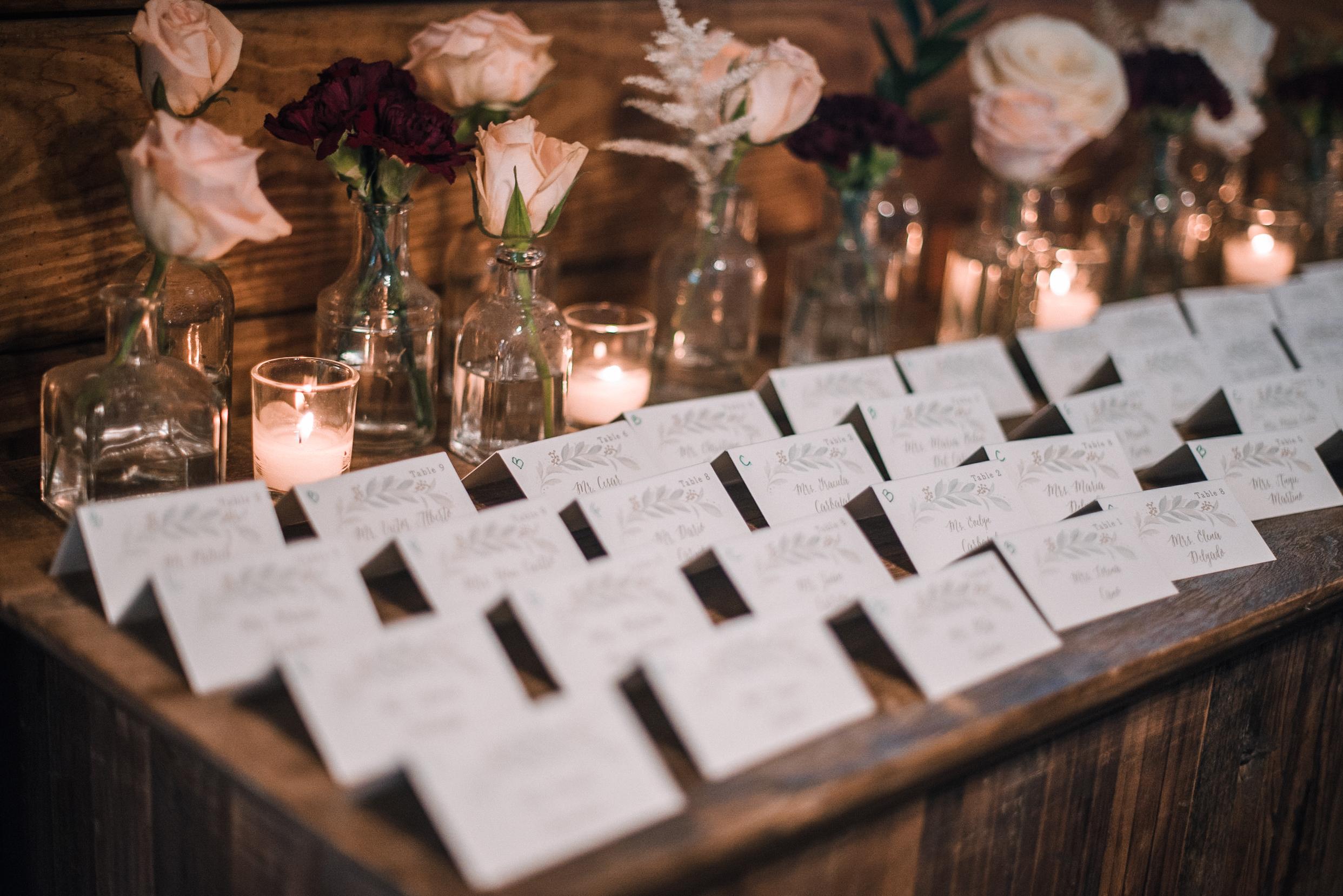 detail shot of name cards at Bluemont Vineyard