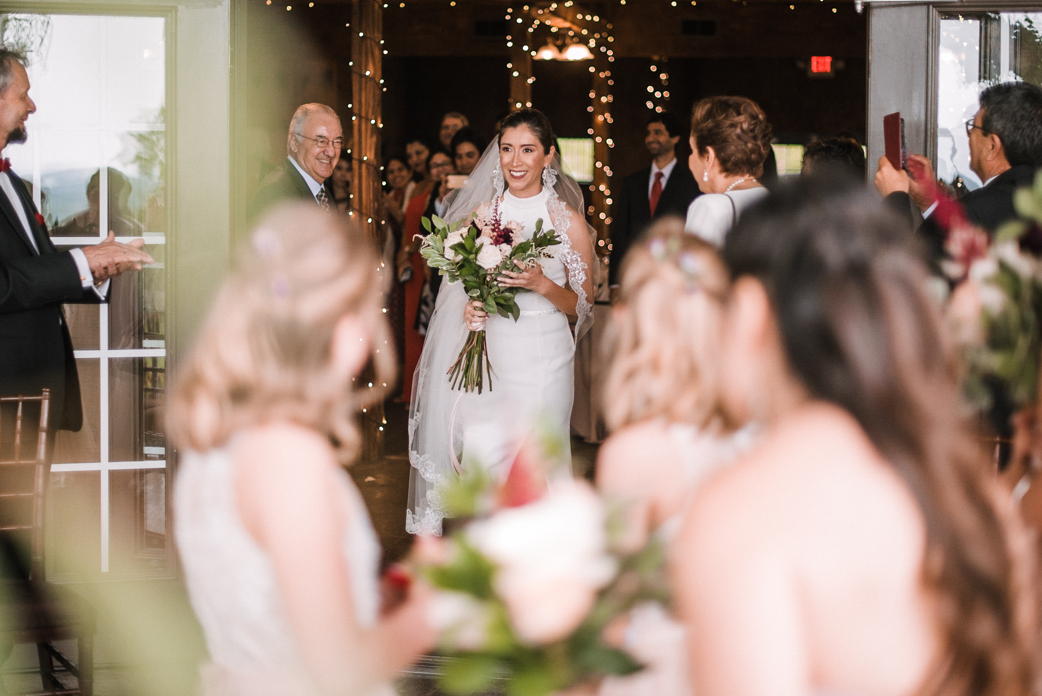 bride walking down the aisle at Bluemont Vineyard