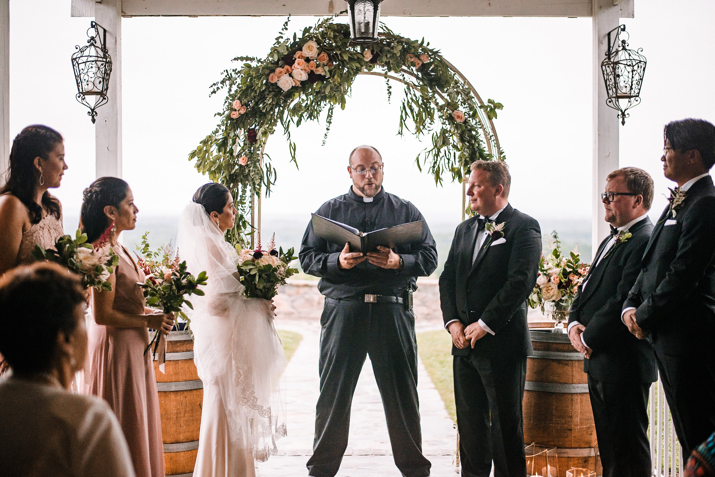 bride and groom at the altar at Bluemont Vineyard
