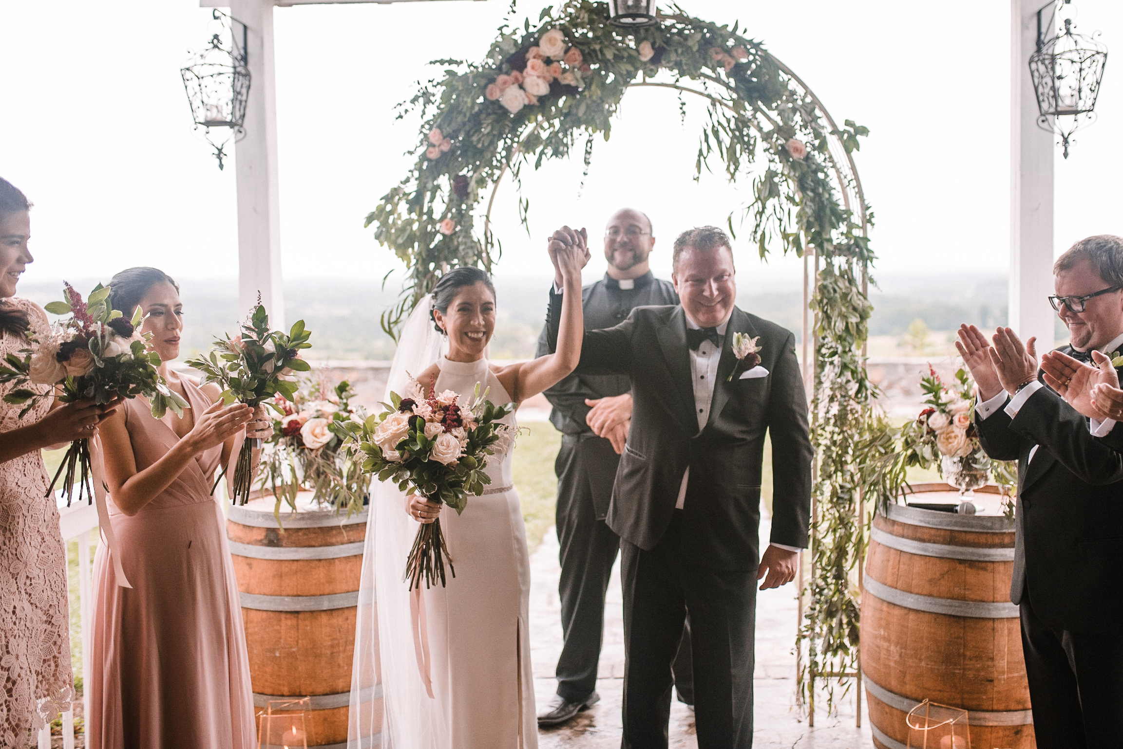 bride and groom smiling after ceremony at Bluemont Vineyard