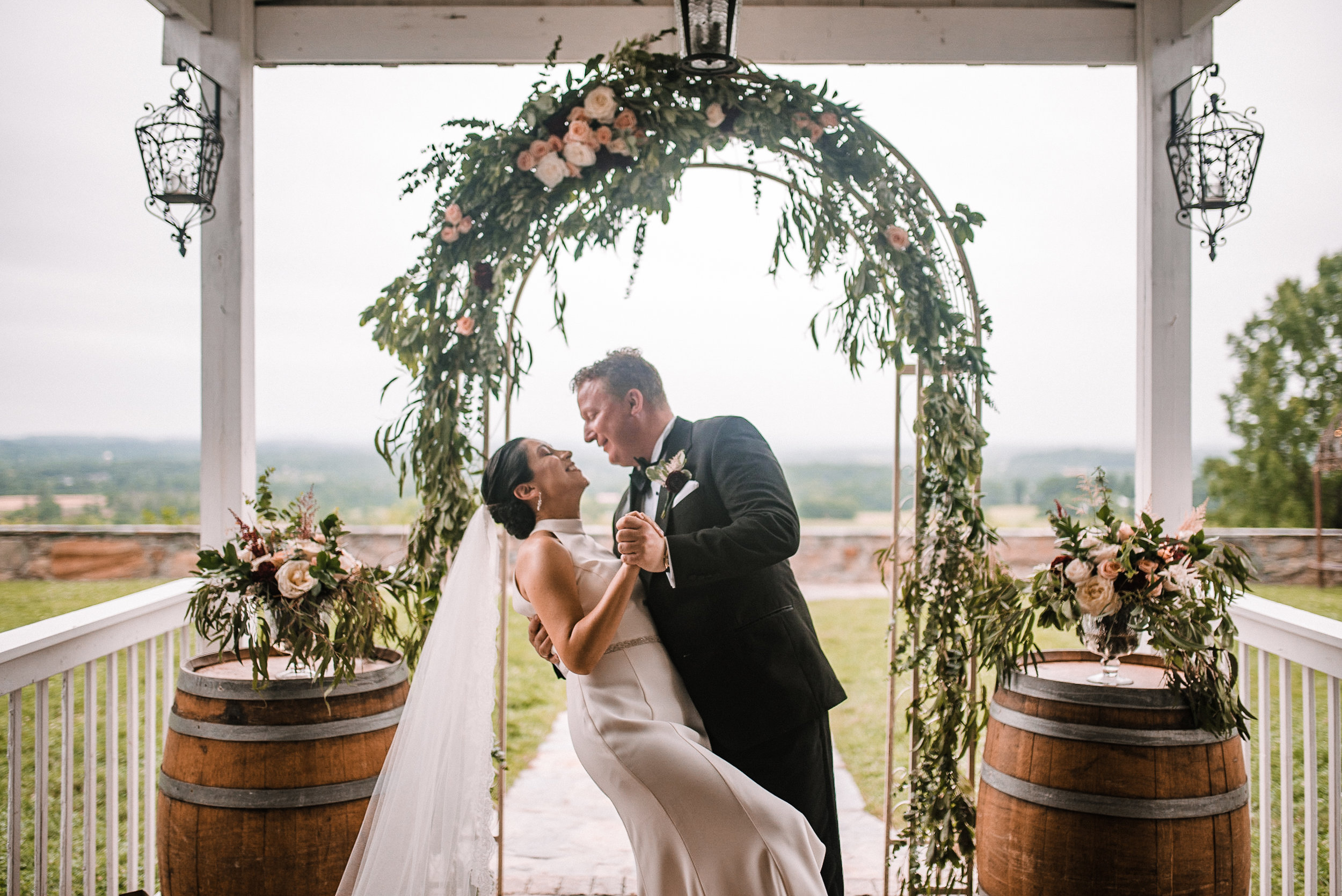 bride and groom embracing at Bluemont Vineyard