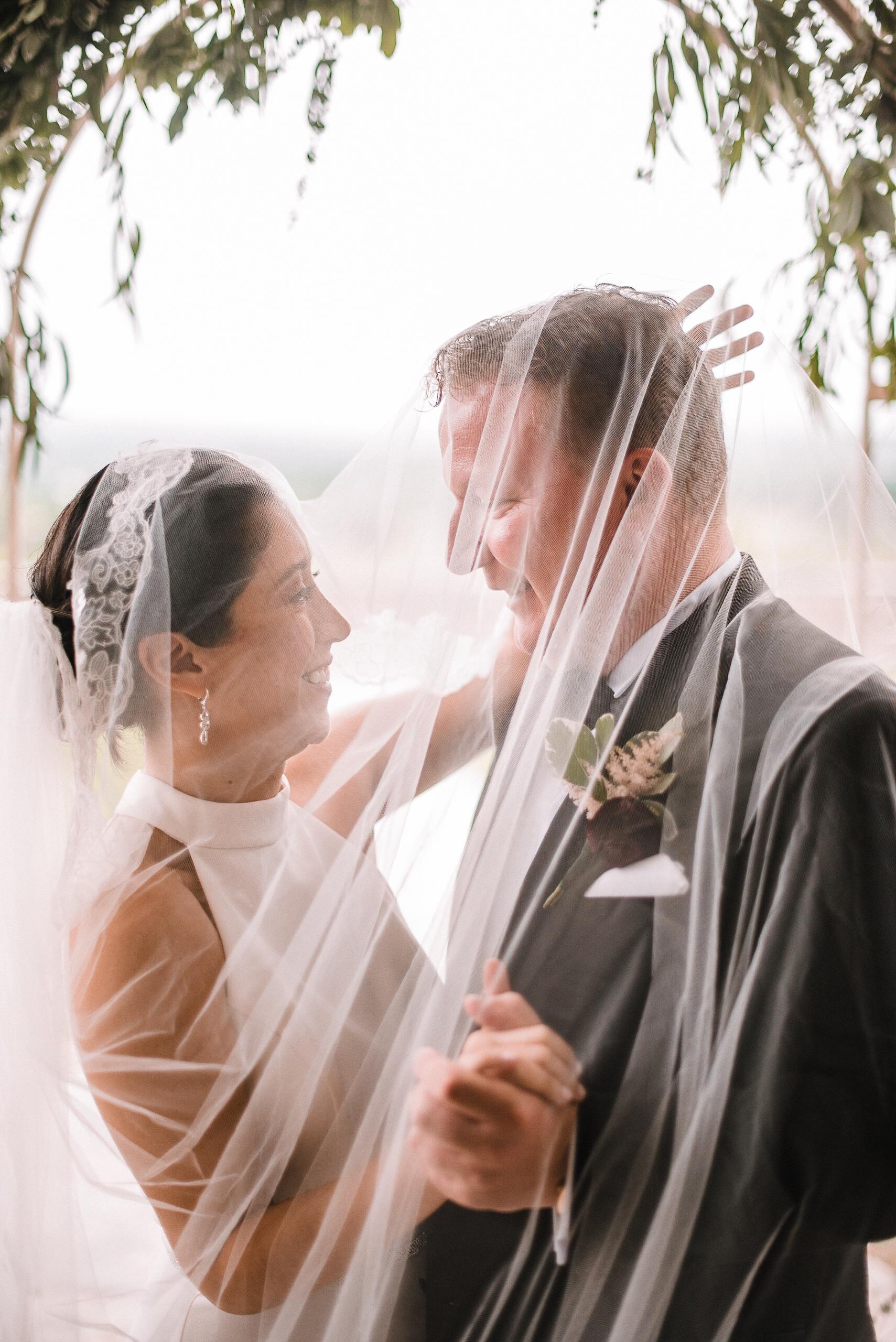 bride and groom under veil at Bluemont Vineyard