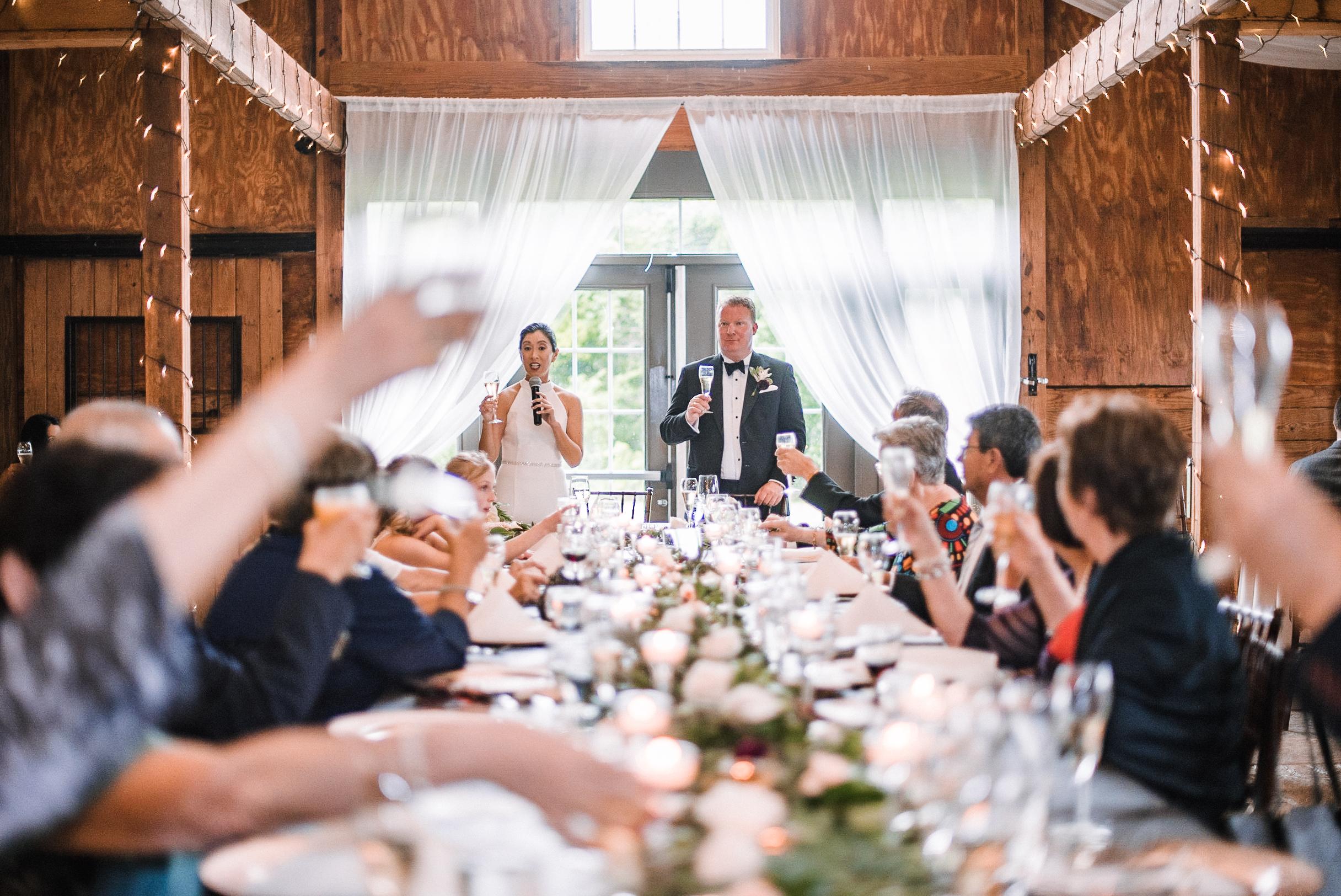 bride and groom toasting at Bluemont Vineyard