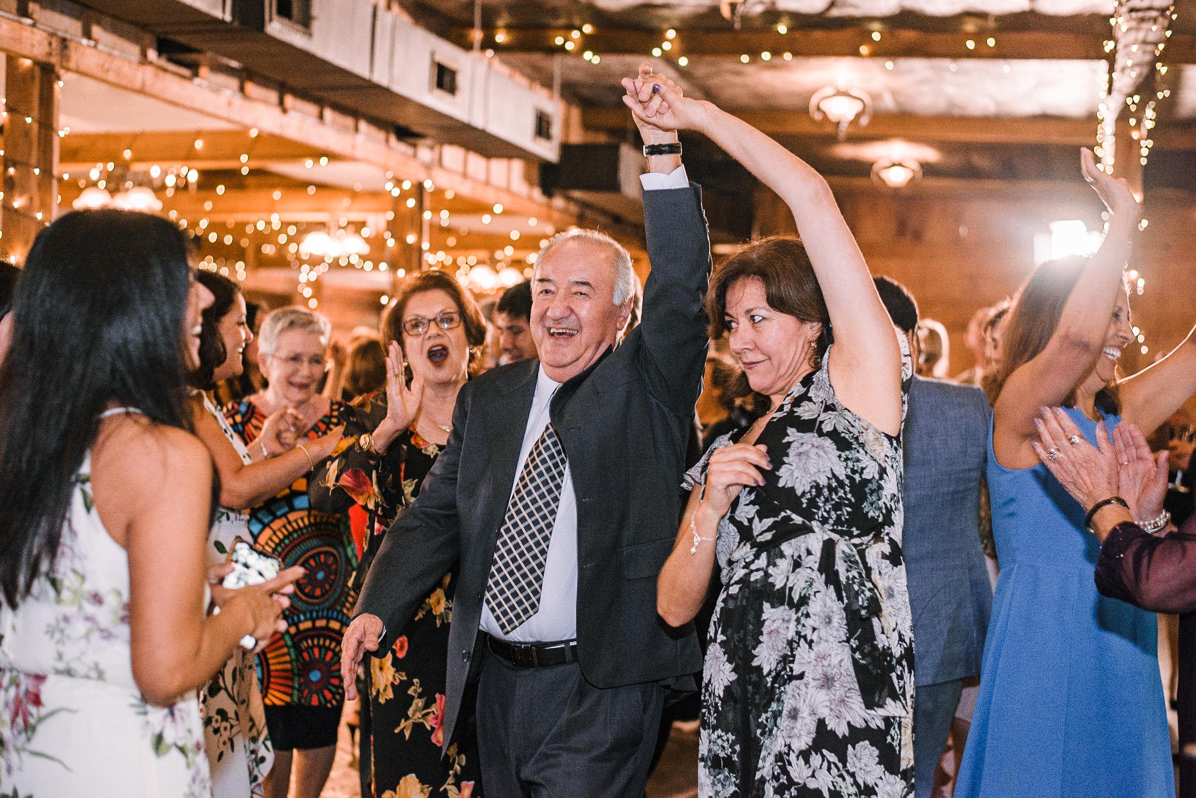 guests dancing at wedding reception at Bluemont Vineyard