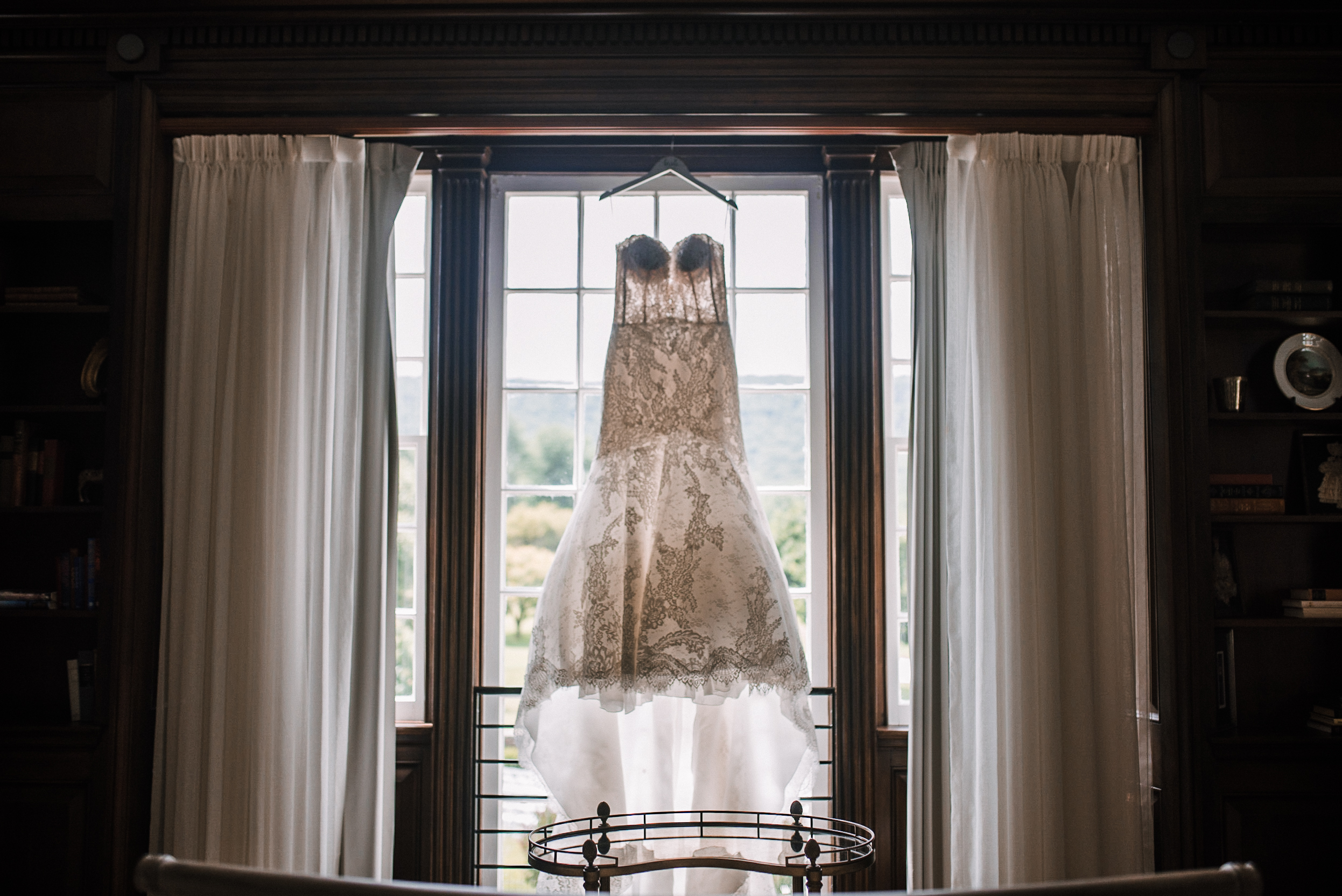detail shot of wedding dress at Evergreen Country Club