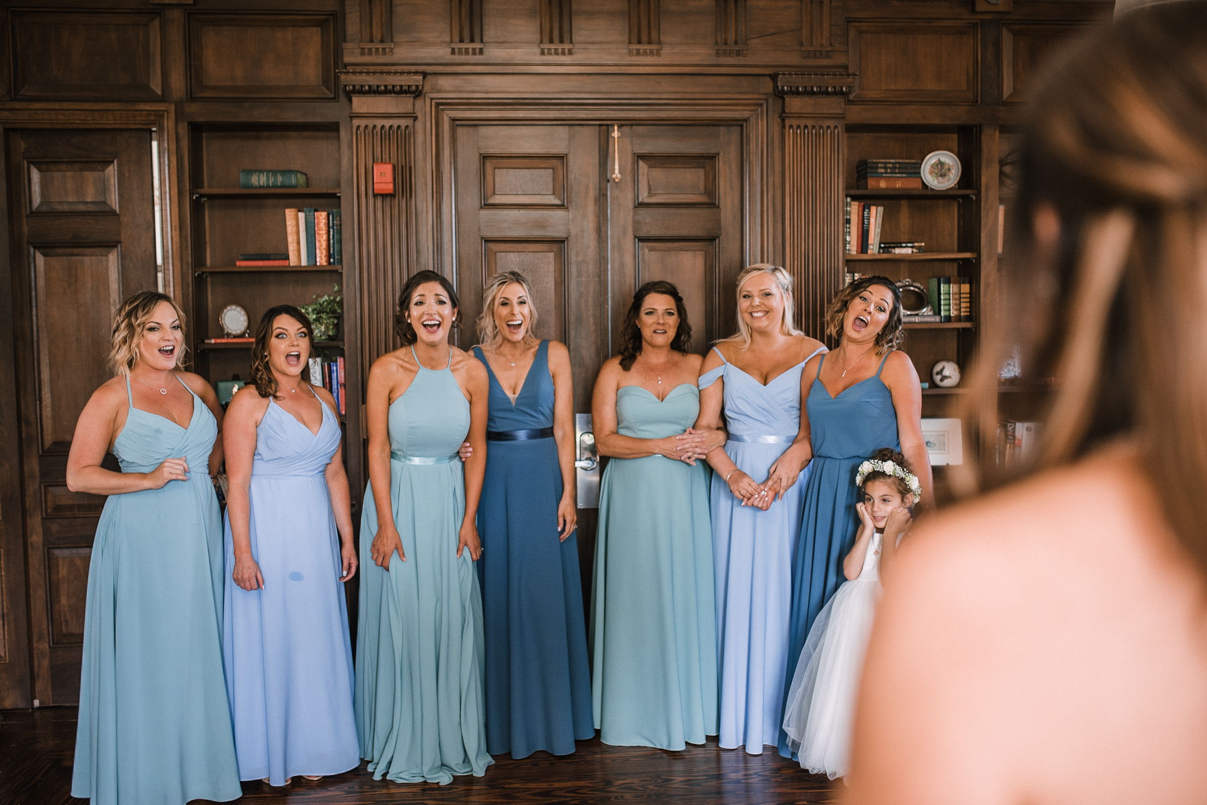 bridesmaids reaction to bride at Evergreen Country Club
