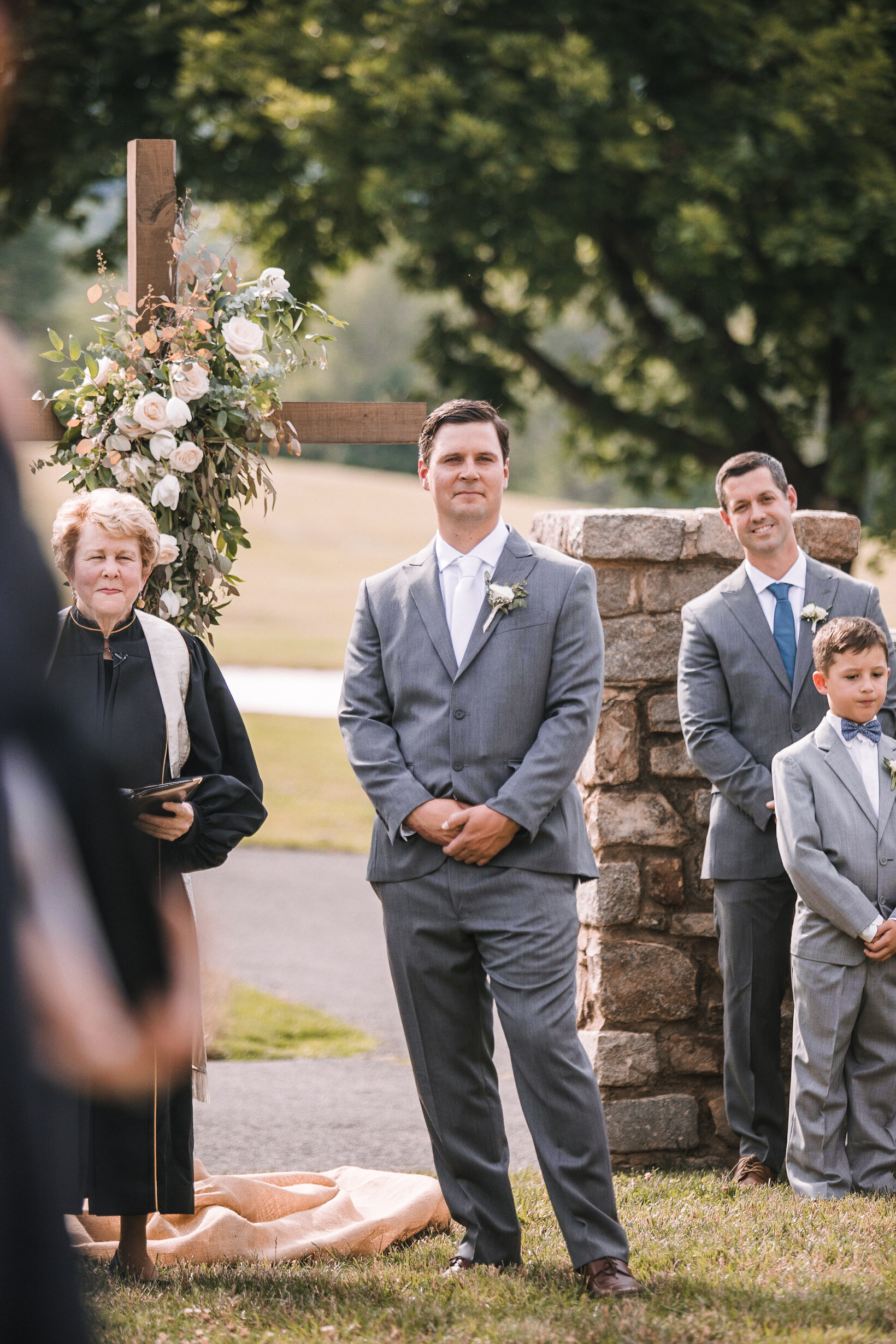 groom's reaction to bride at Evergreen Country Club