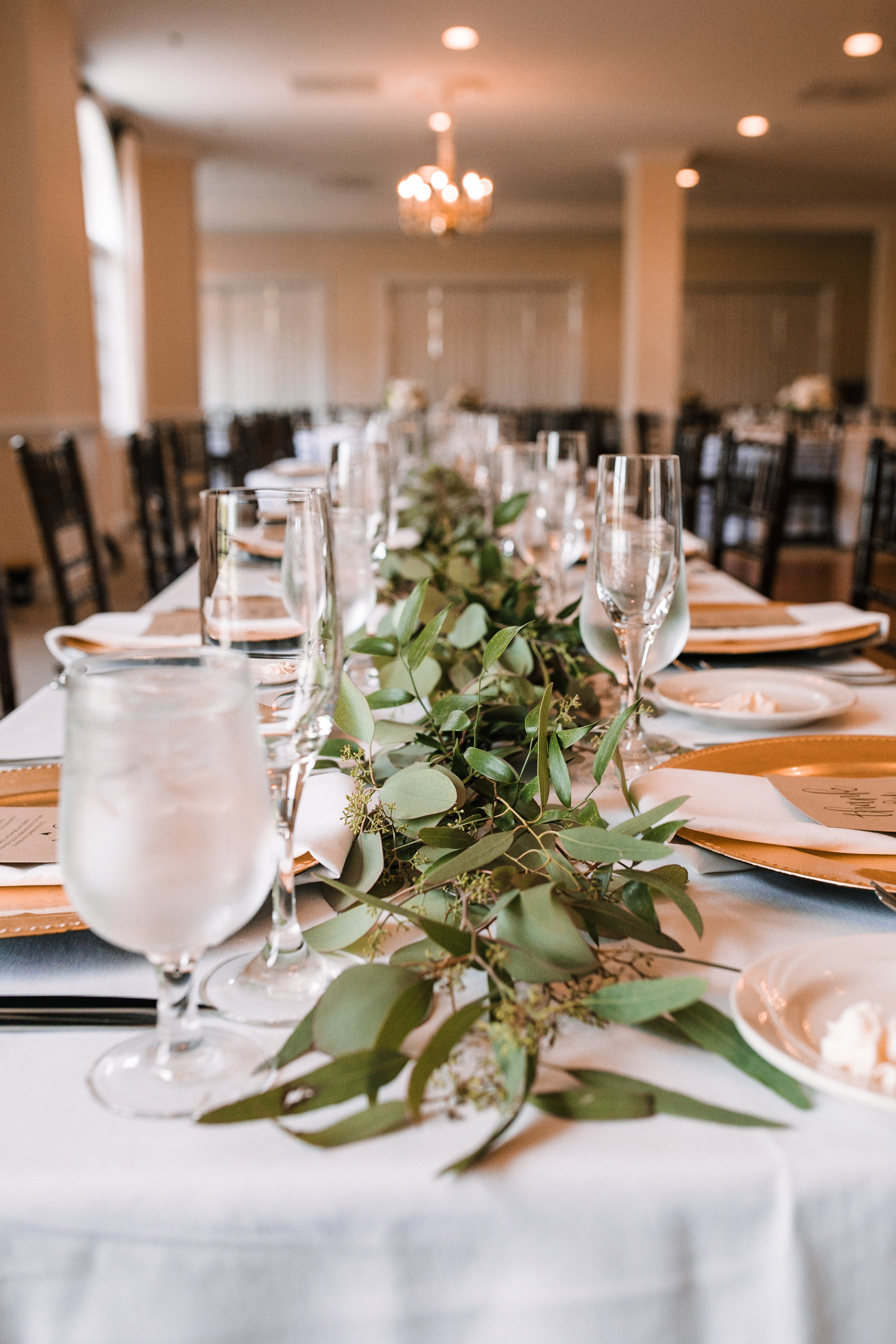 detail shot of reception table at Evergreen Country Club
