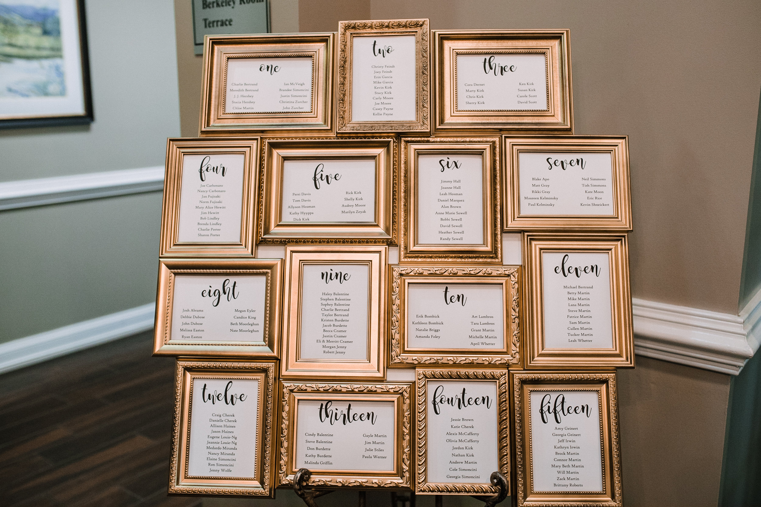 reception details at Evergreen Country Club