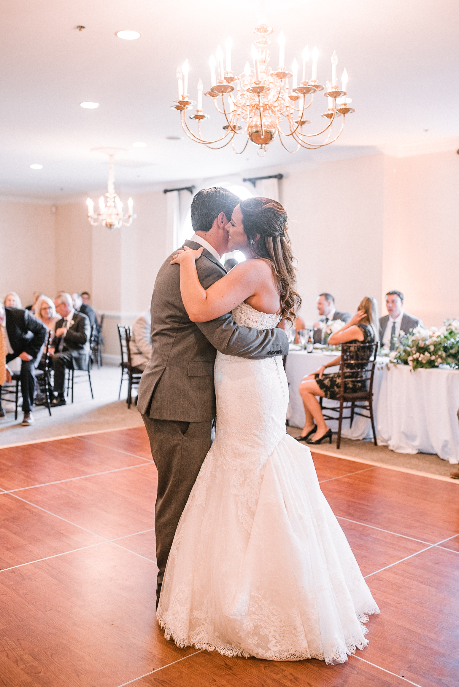 bride and groom having first dance at Evergreen Country Club
