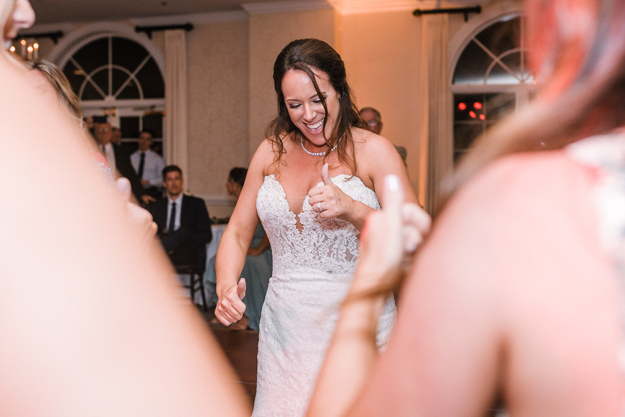 bride dancing at reception at Evergreen Country Club