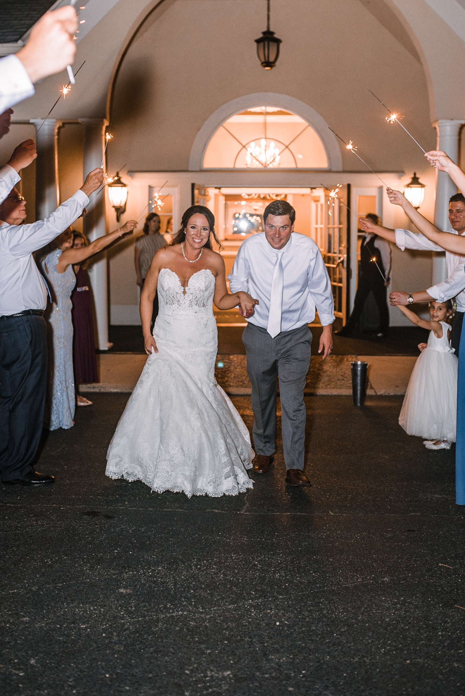 bride and groom sparkler exit at Evergreen Country Club