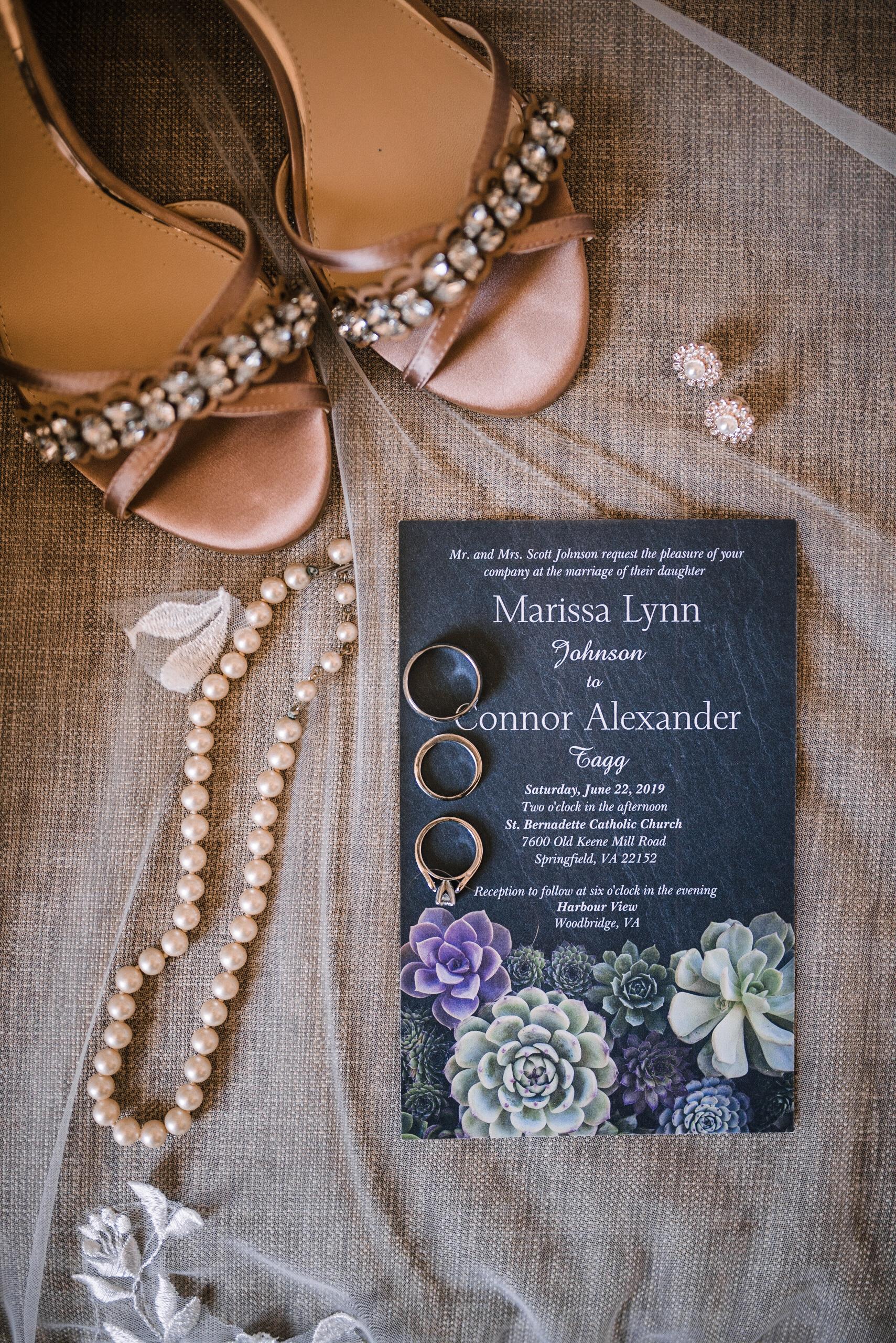 Bridal detail shots at Embassy Suites in Springfield, VA