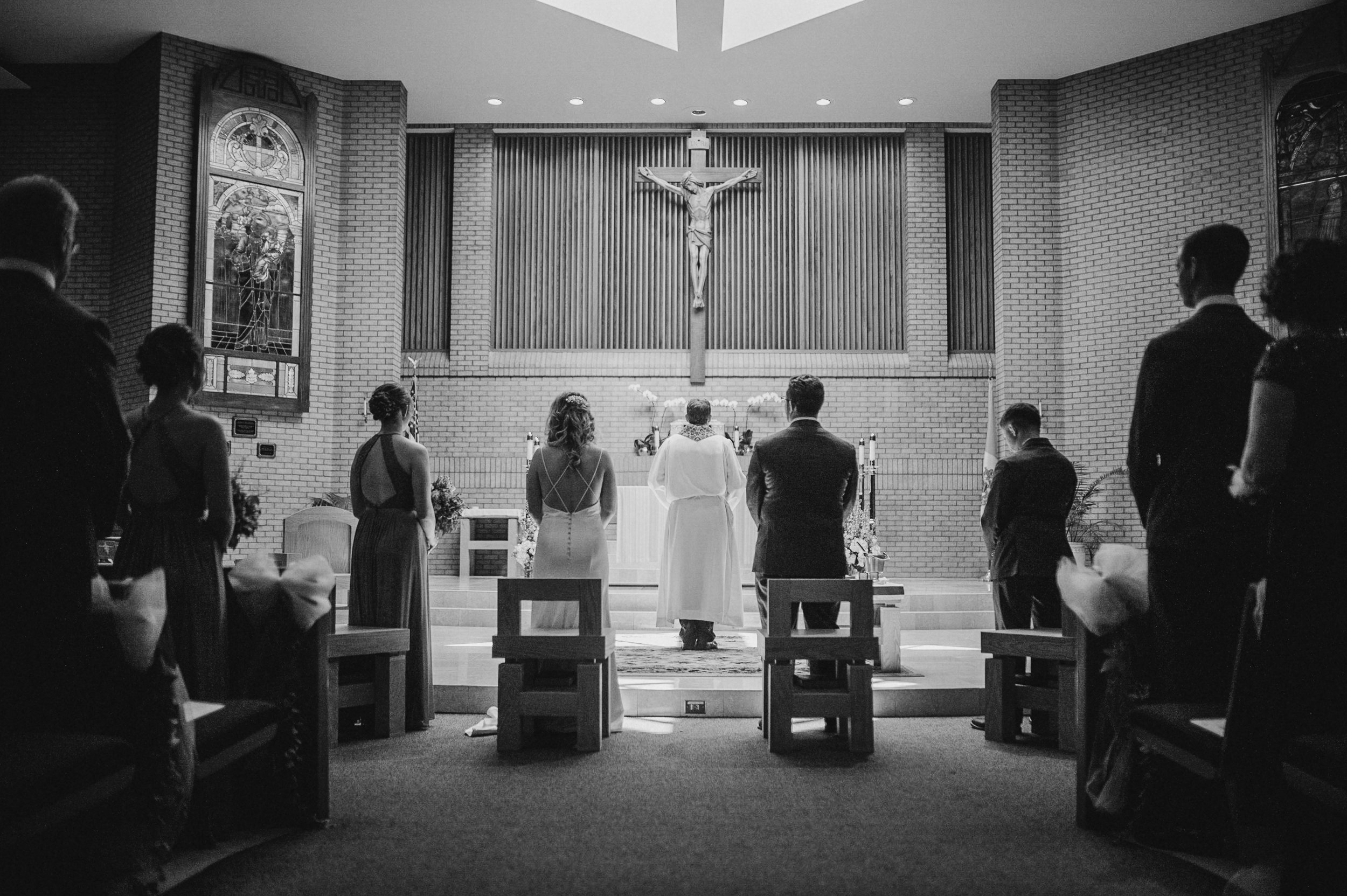Bride and Groom at Ceremony at St. Bernadette Catholic Church