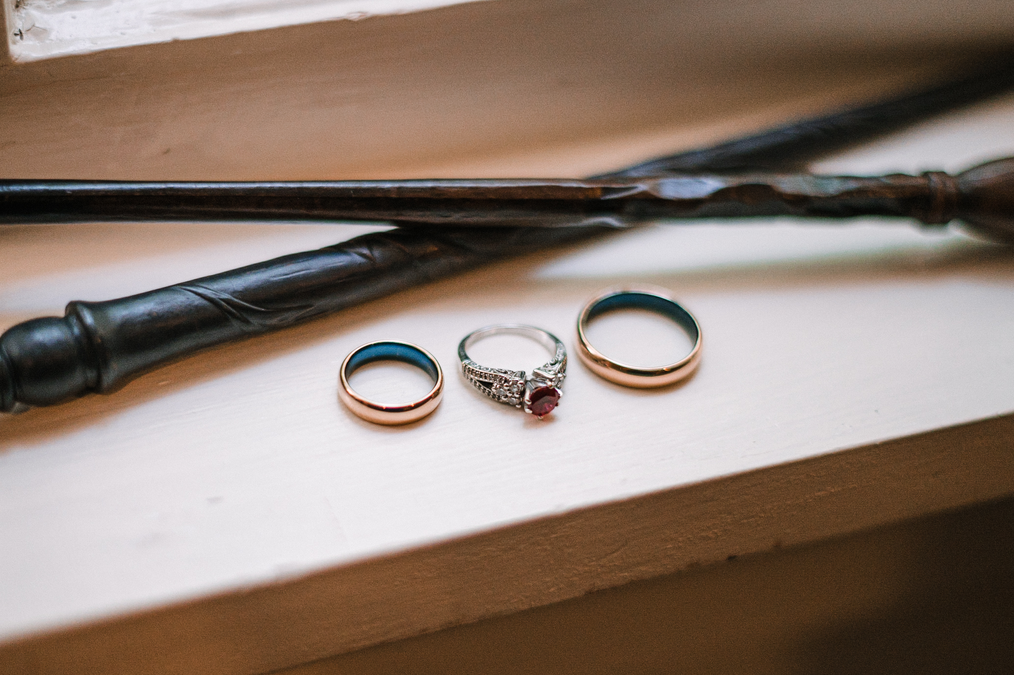 detail shot of wedding rings at Airlie