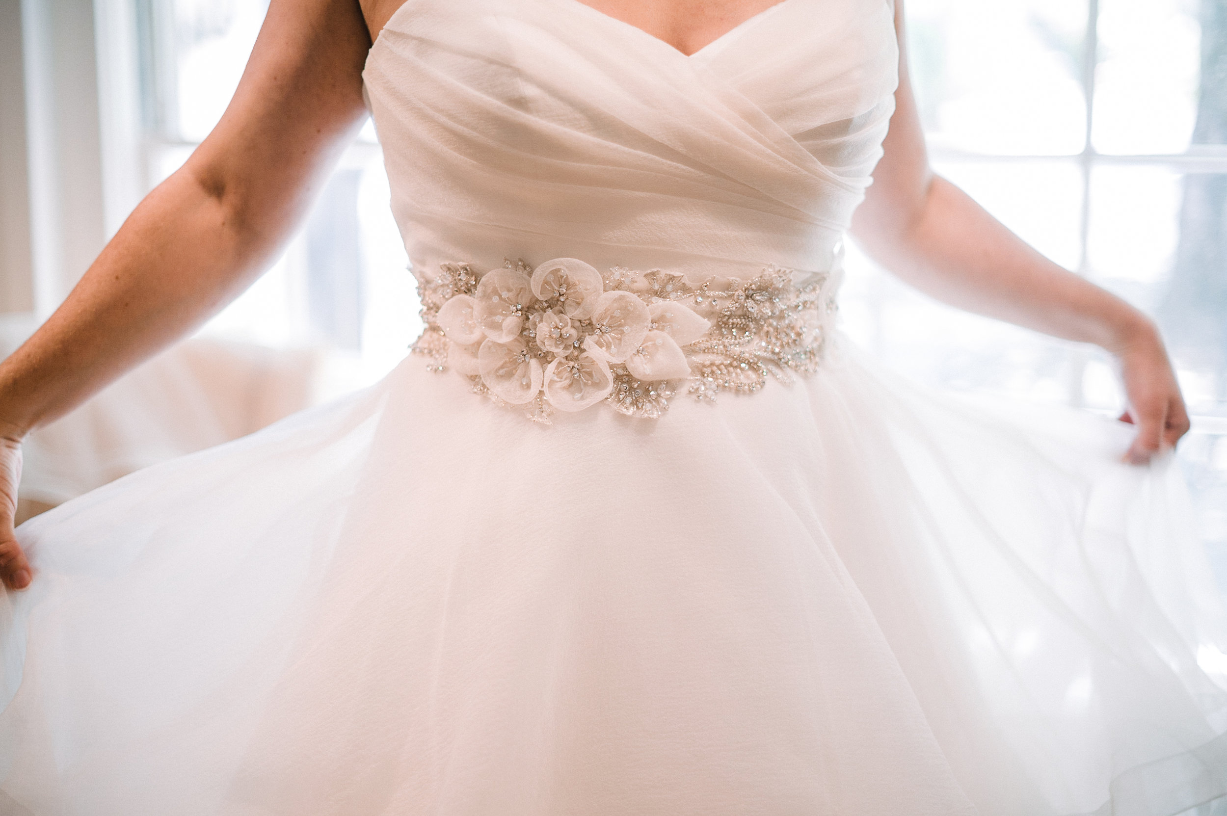 detail shot of wedding dress at Airlie