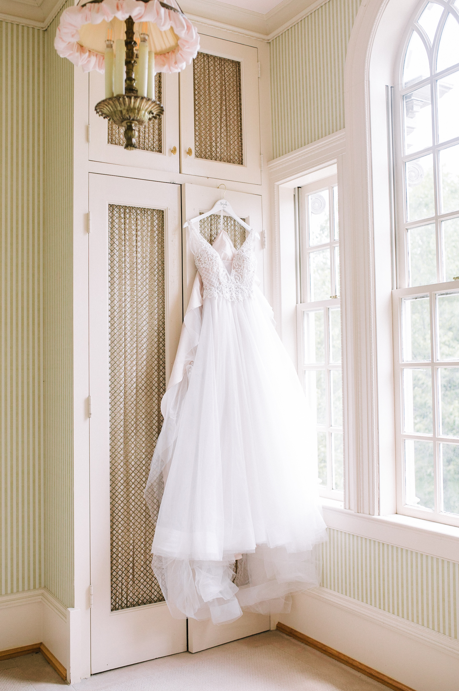 detail shot of wedding dress at Great Marsh Estate