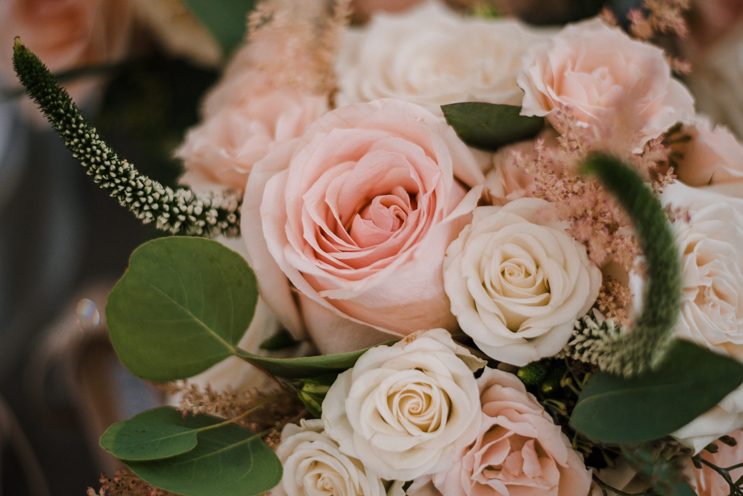 detail shot of wedding flowers at Birkby House