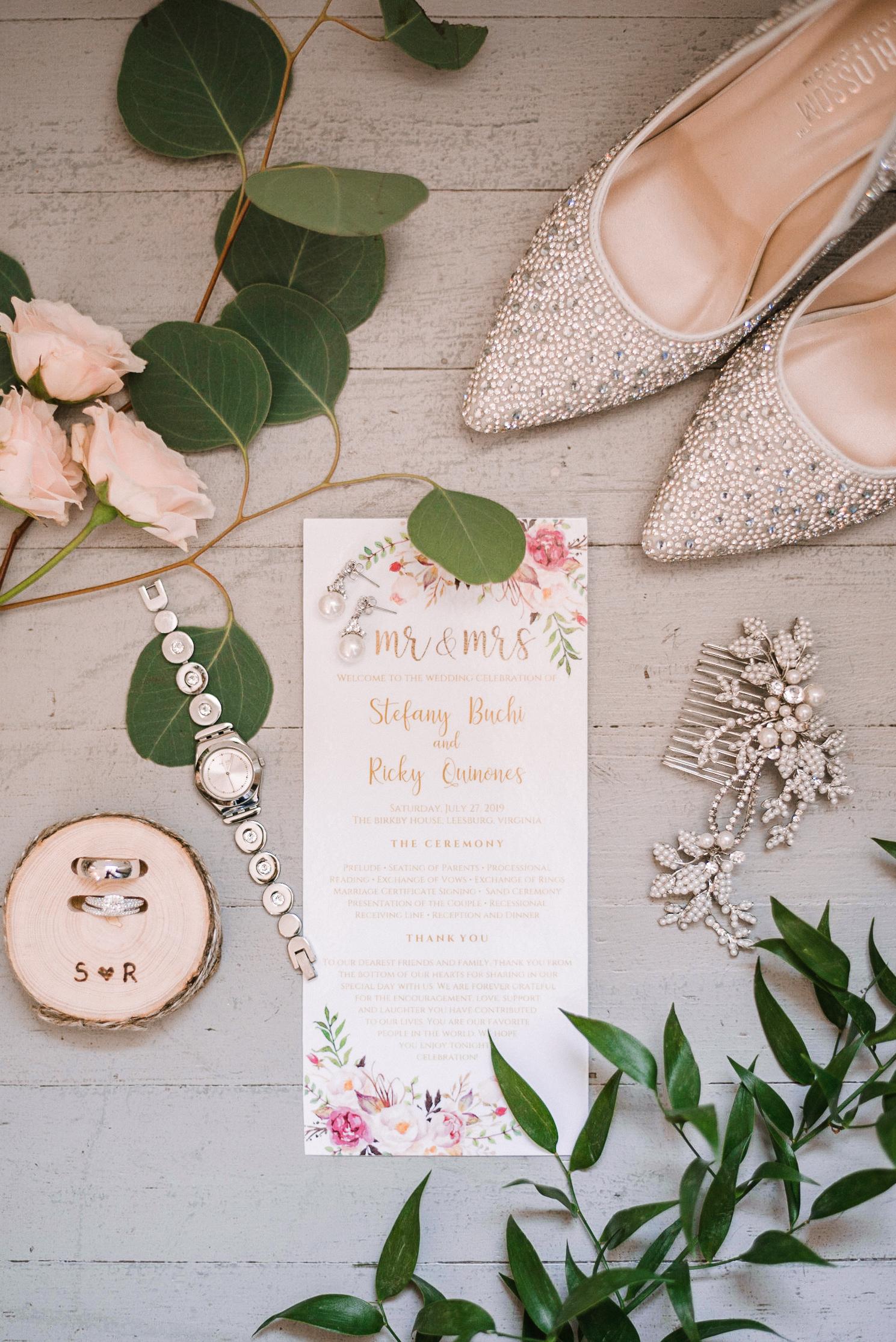 detail shot of bride's details at Birkby House